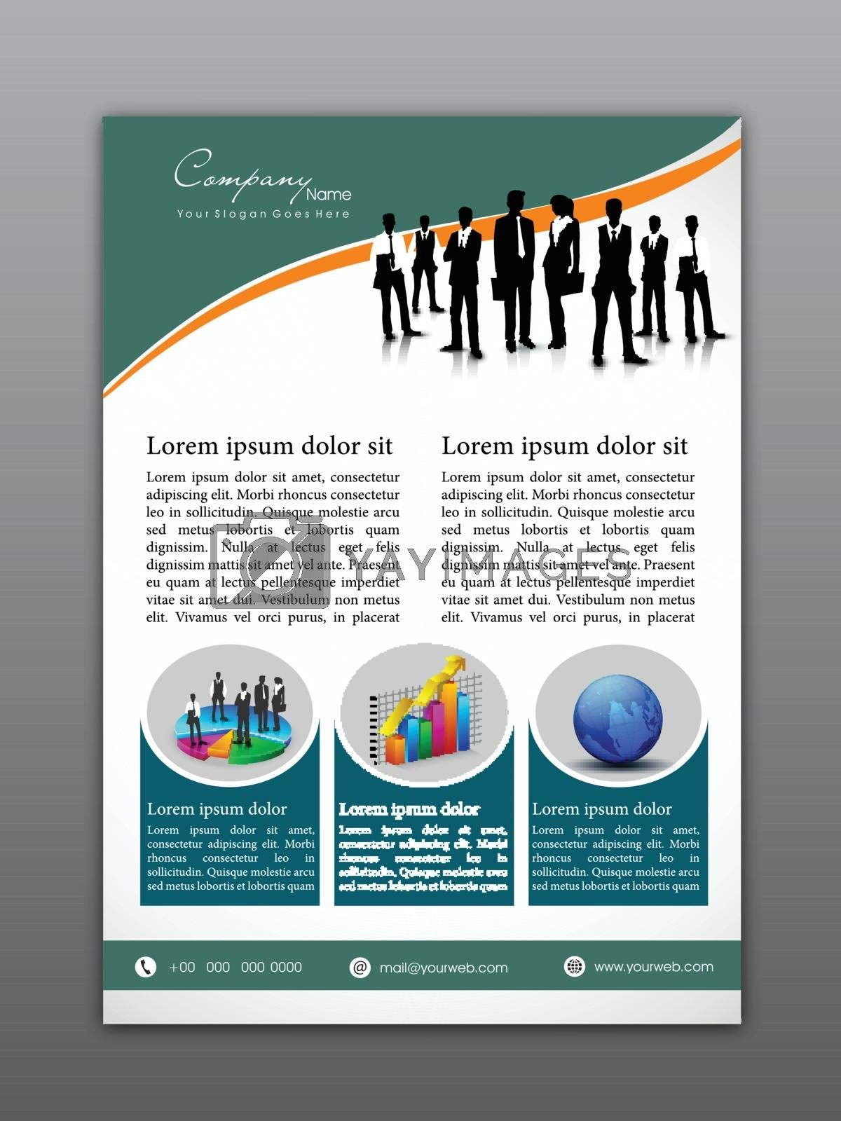 Professional Flyer, Template or Corporate Banner design with illustration of business people and infographic elements.