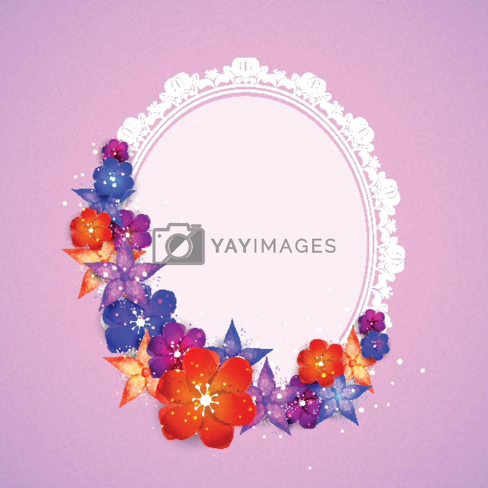 Colorful flowers decorated frame in oval shape.