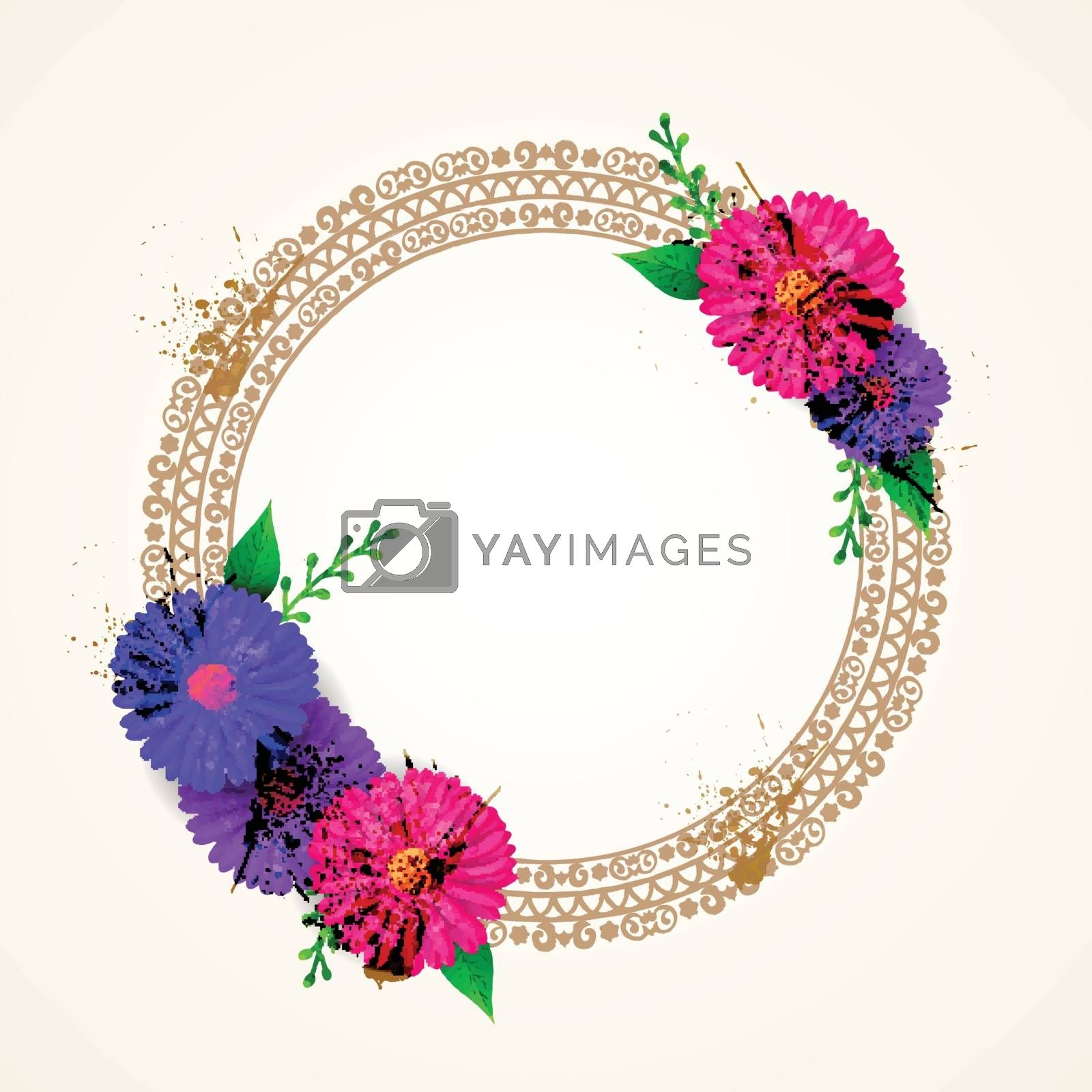 Paper cut design flowers decorated frame in circle shape.