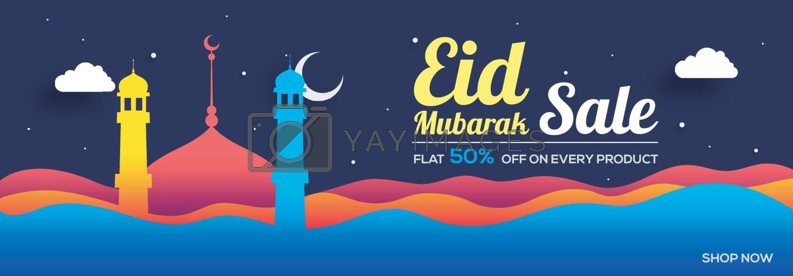 Eid Mubarak Sale banner decorated with colorful mosque and abstract waves.