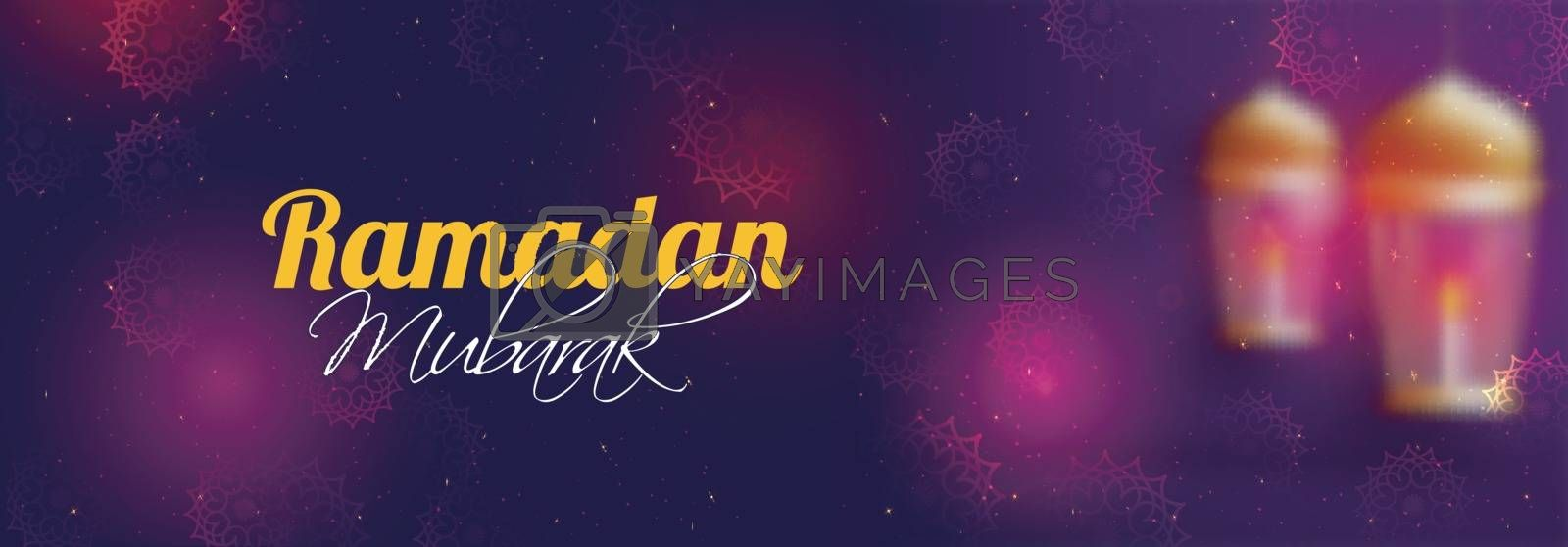 Islamic Holy Month, Ramadan Mubarak Social Media Banner design with beautiful blurred lamps and floral decoration.