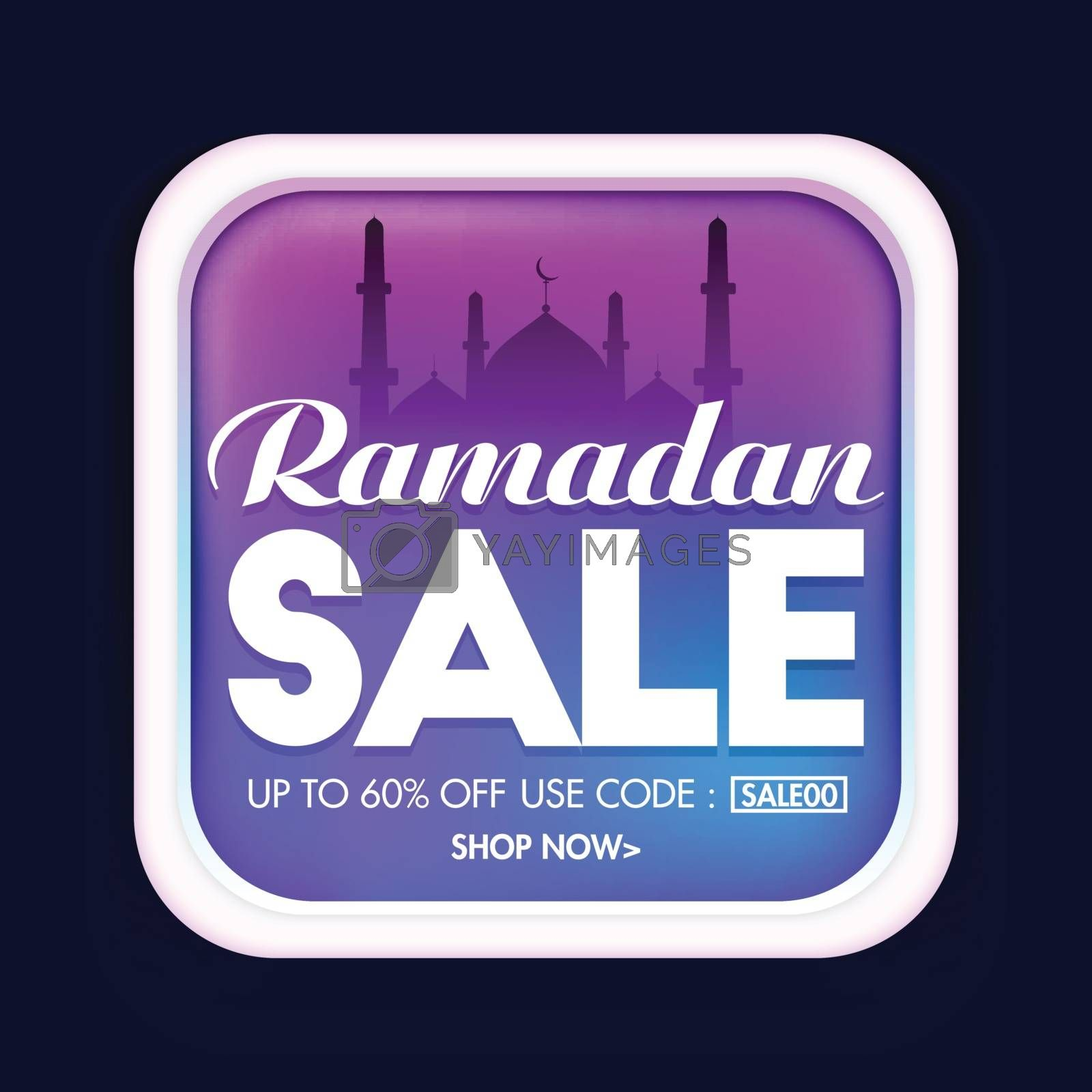 Ramadan Sale sticker, tag or label design with mosque for Muslim Community Festival celebration.