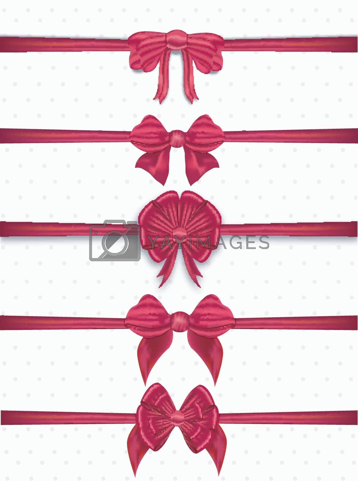 Collection of elegant decorative red ribbons.