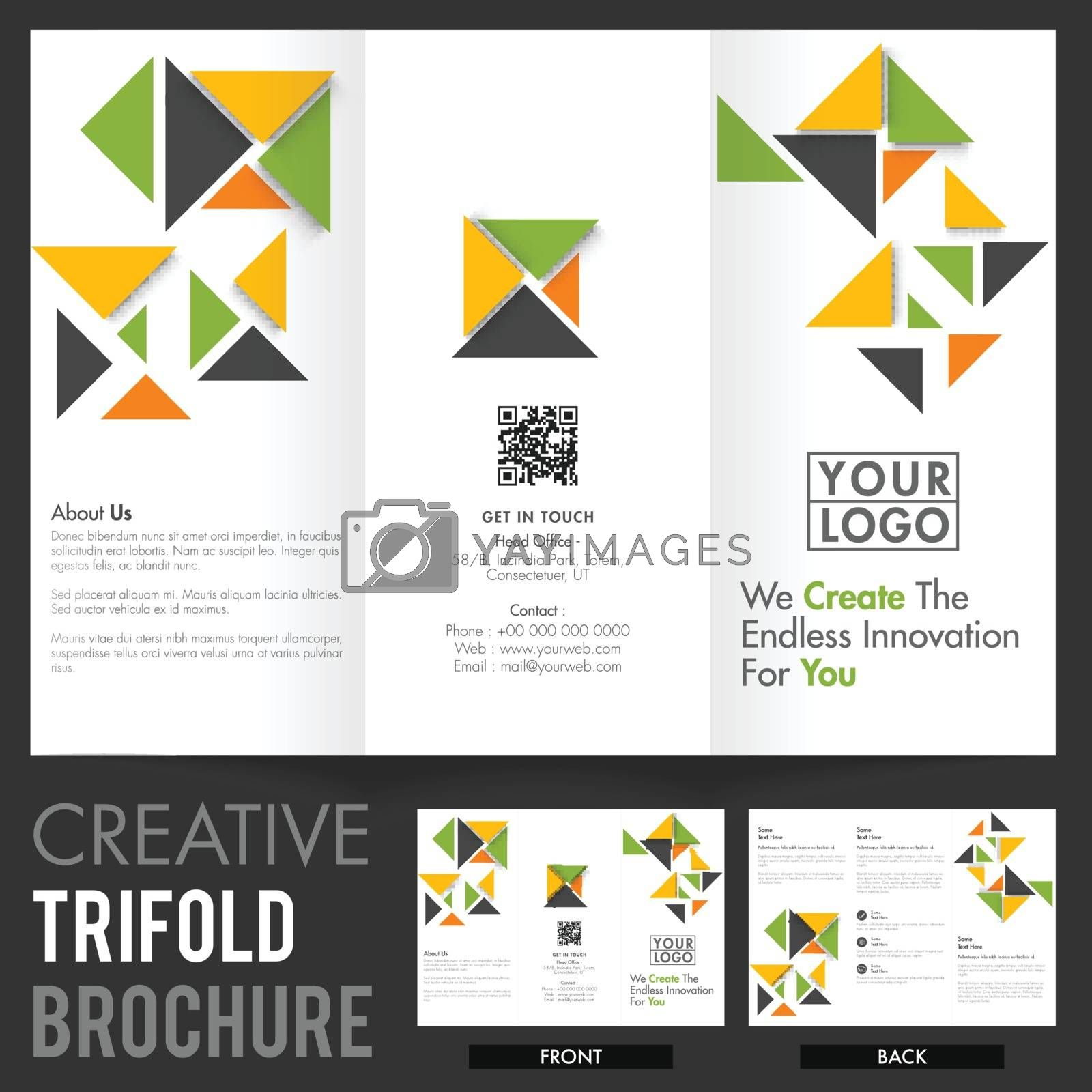 Creative Tri-Fold Brochure, Template layout with abstract design for your Business reports and presentation.