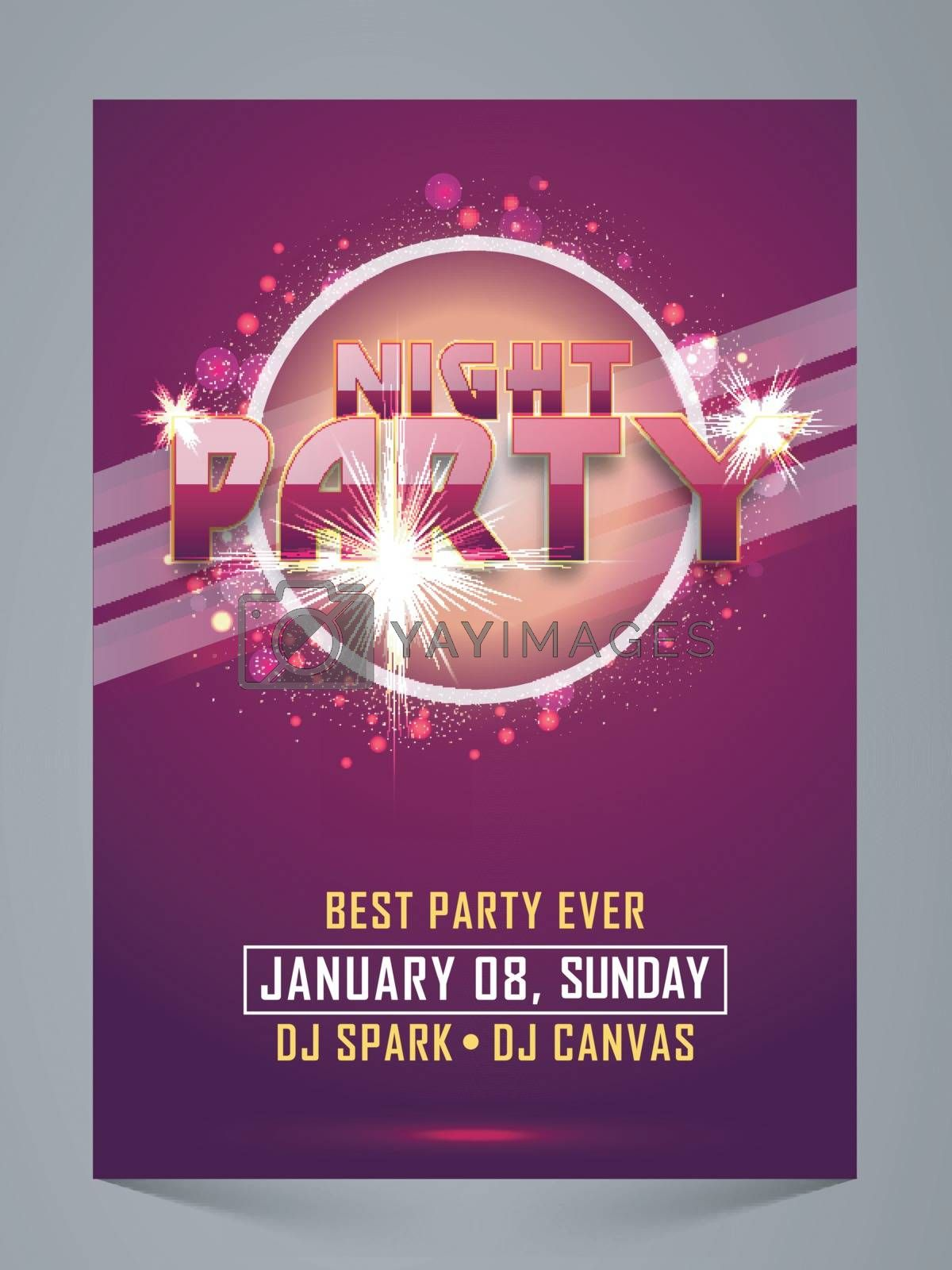 Elegant Night Party Celebration Flyer, Banner, Pamphlet or Invitation Card with sparkling effects.