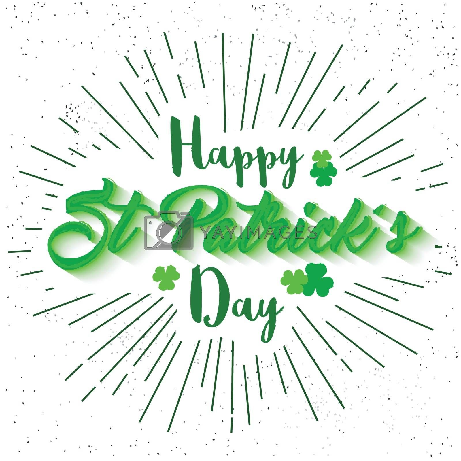 Happy St. Patrick's Day celebration typographical abstract background.