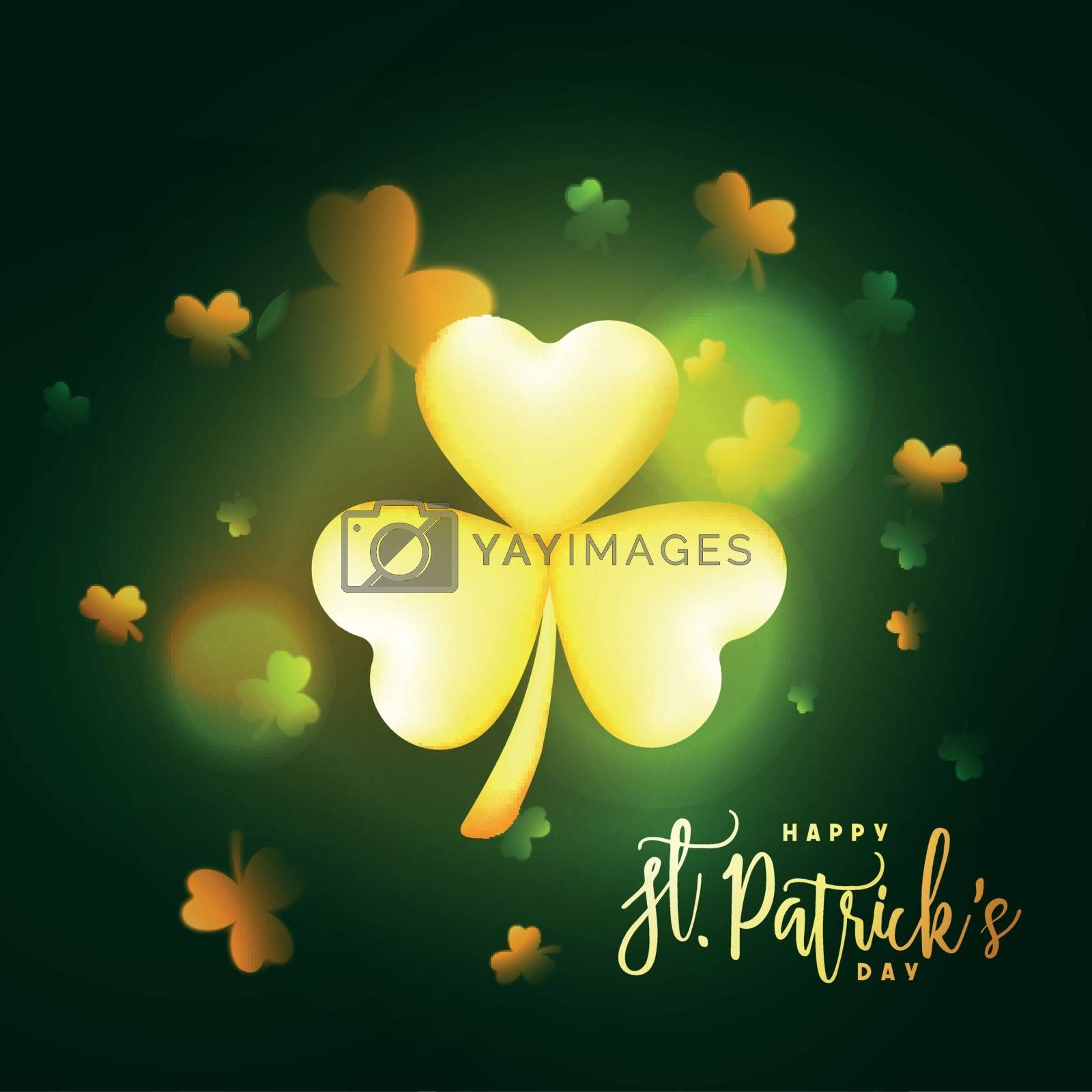 Creative background with Glowing Shamrock Leaves decoration for Happy St. Patrick's Day celebration.