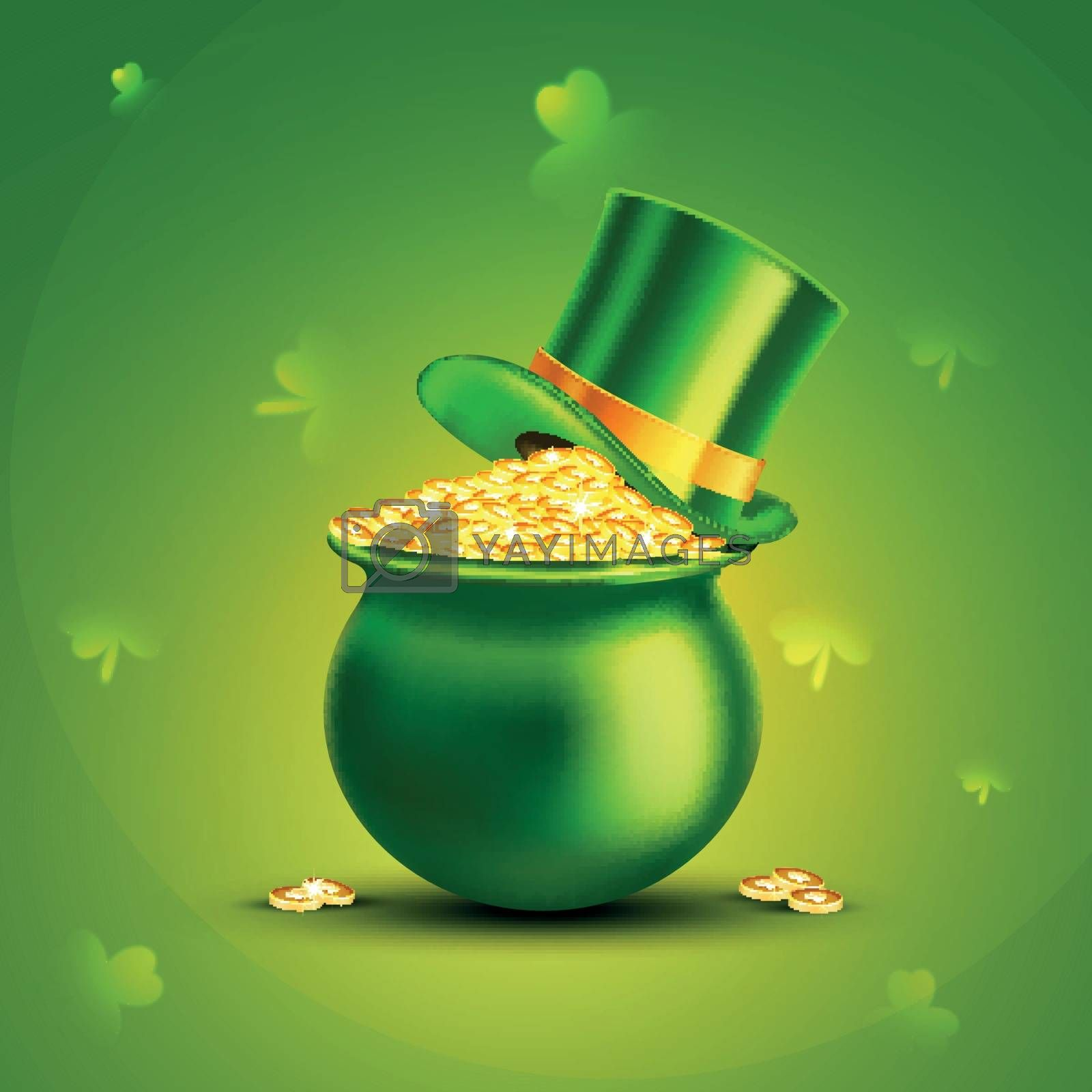 Glossy Green Pot full of Gold Coins with Leprechaun Hat on shamrock leaves decorated background for Happy St. Patrick's Day celebration.