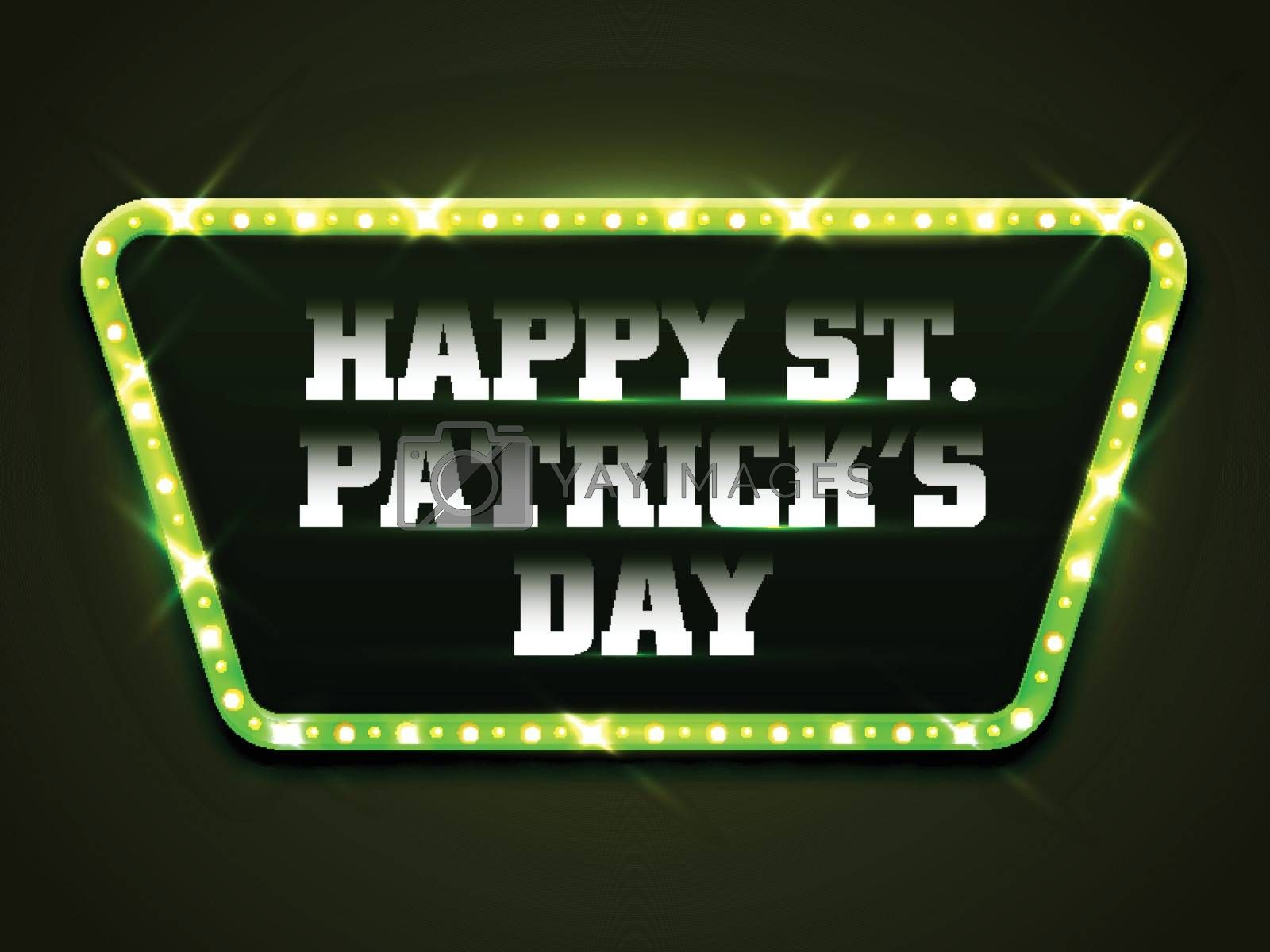 Creative White Text Happy St. Patrick's Day in Marquee lights decorated Frame.