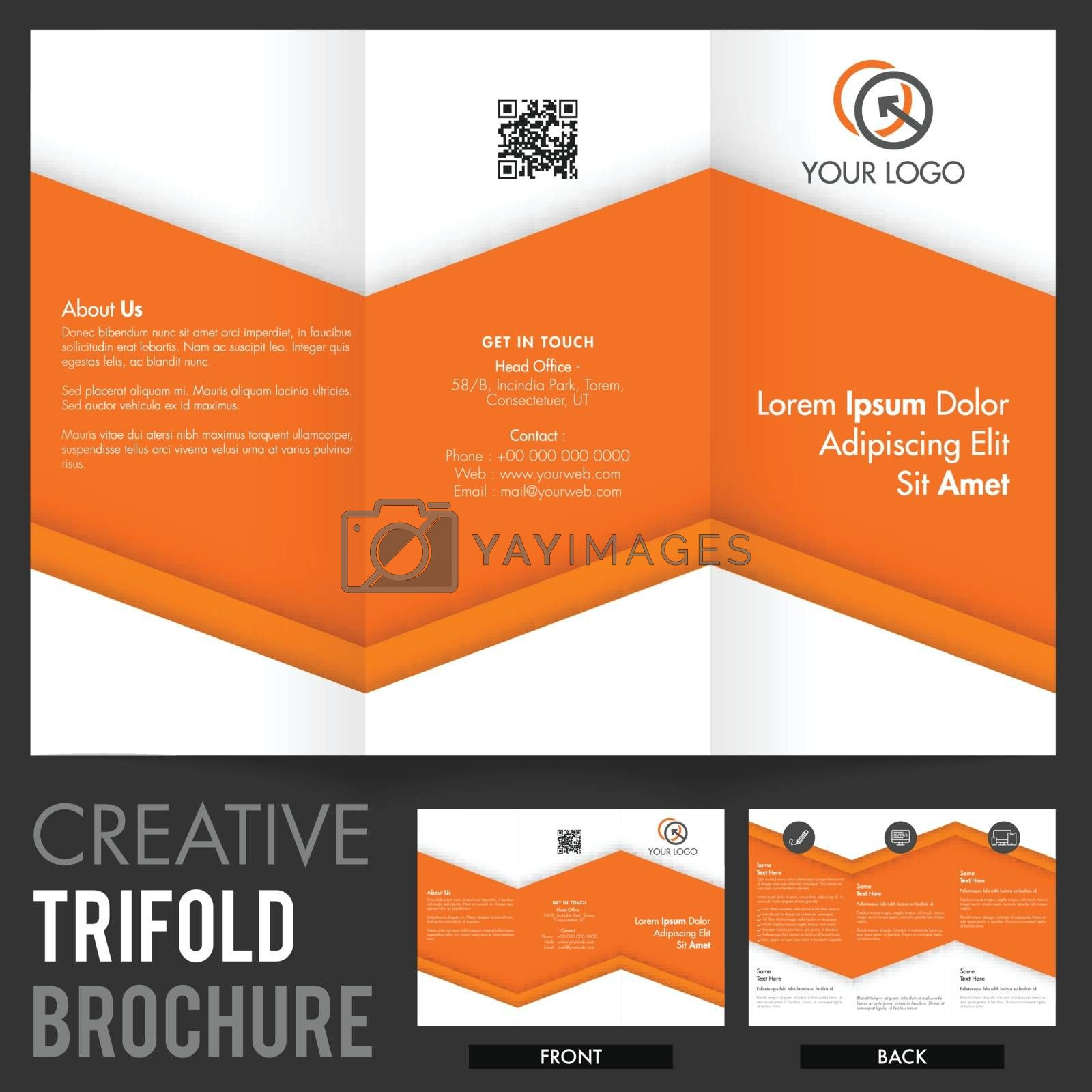 Creative Tri-Fold Brochure, Template design with front and back page view for Business concept.