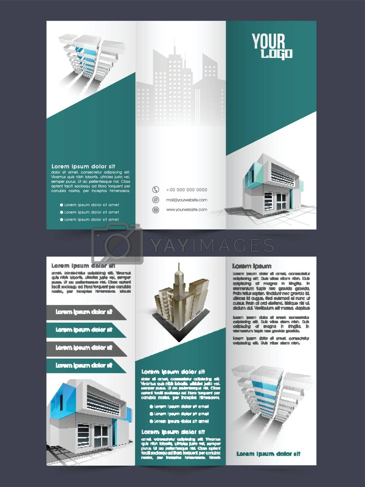 Business Tri-Fold Brochure, Template design with front and back page presentation.