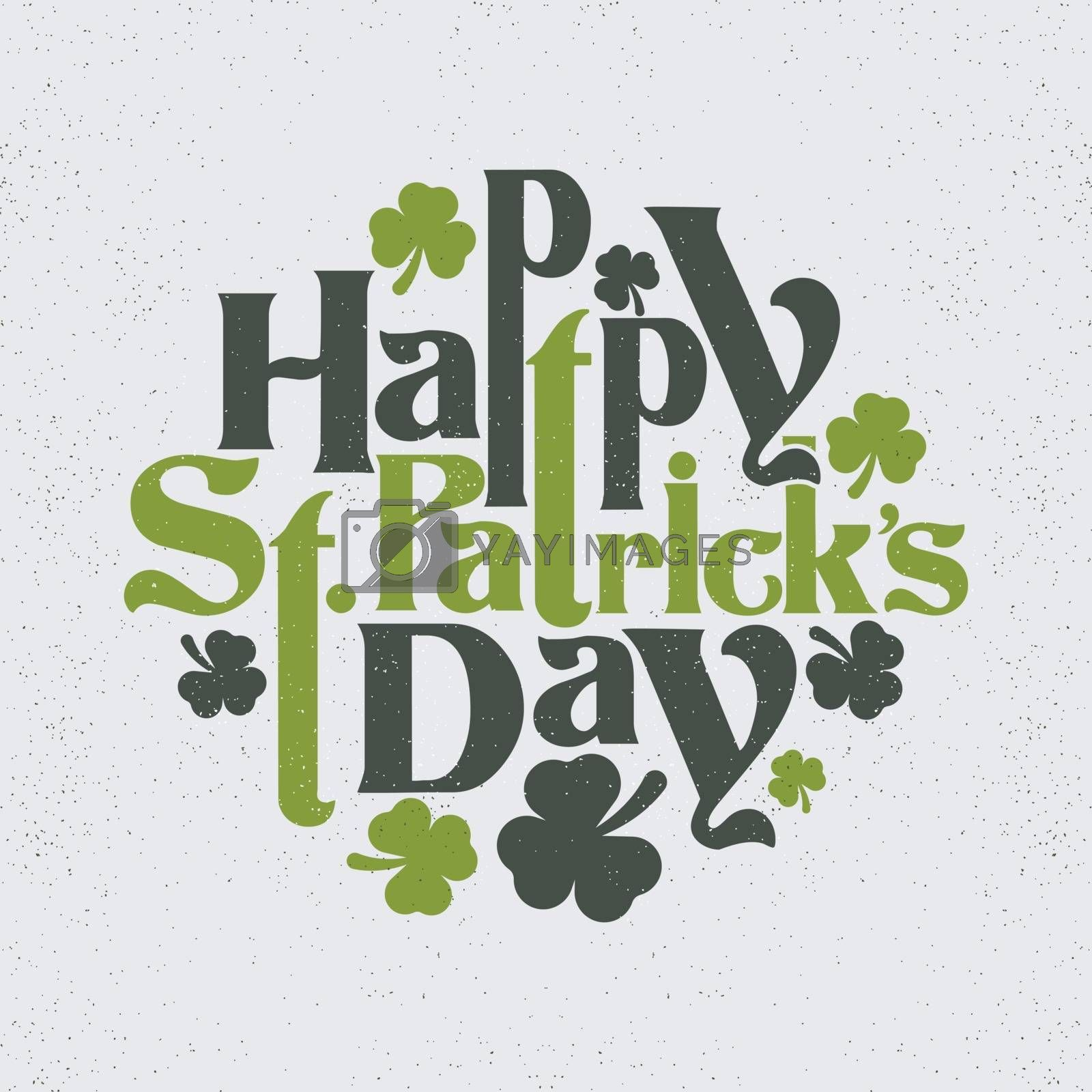 Happy St. Patrick's Day vintage lettering design with shamrock leaves.