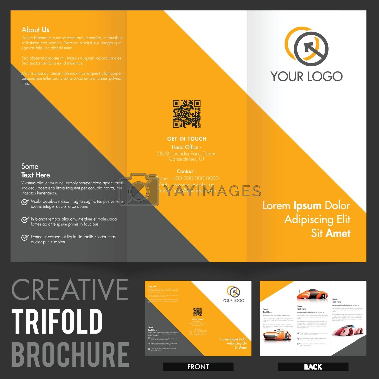 Creative Tri-Fold Brochure, Template design with front and back page view.