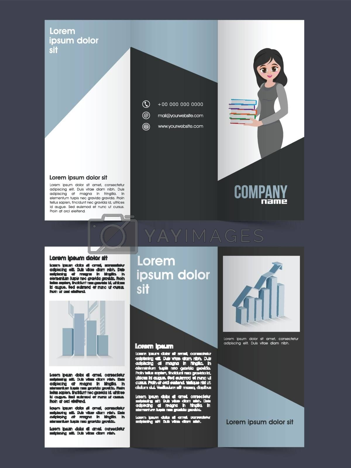 Two Page Tri-Fold Brochure, Template design with infographic elements for your Business reports and presentation.