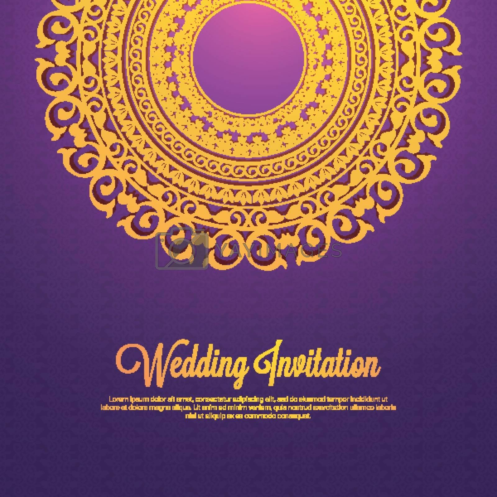 Golden Mandala style design for Wedding Inviation.
