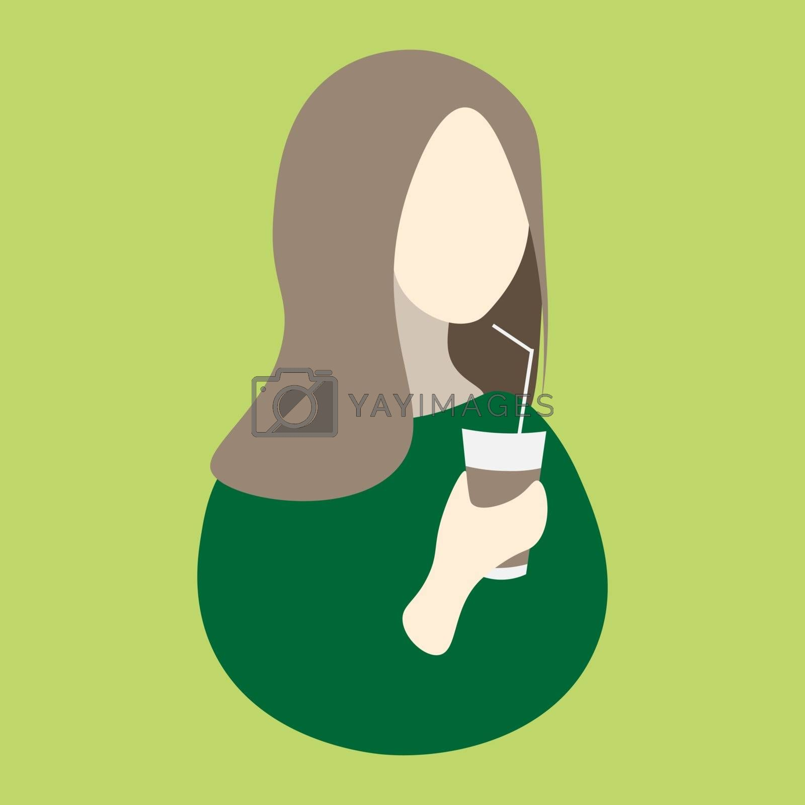 Faceless girl with light brown hair drinks coffee or tea on the light green background