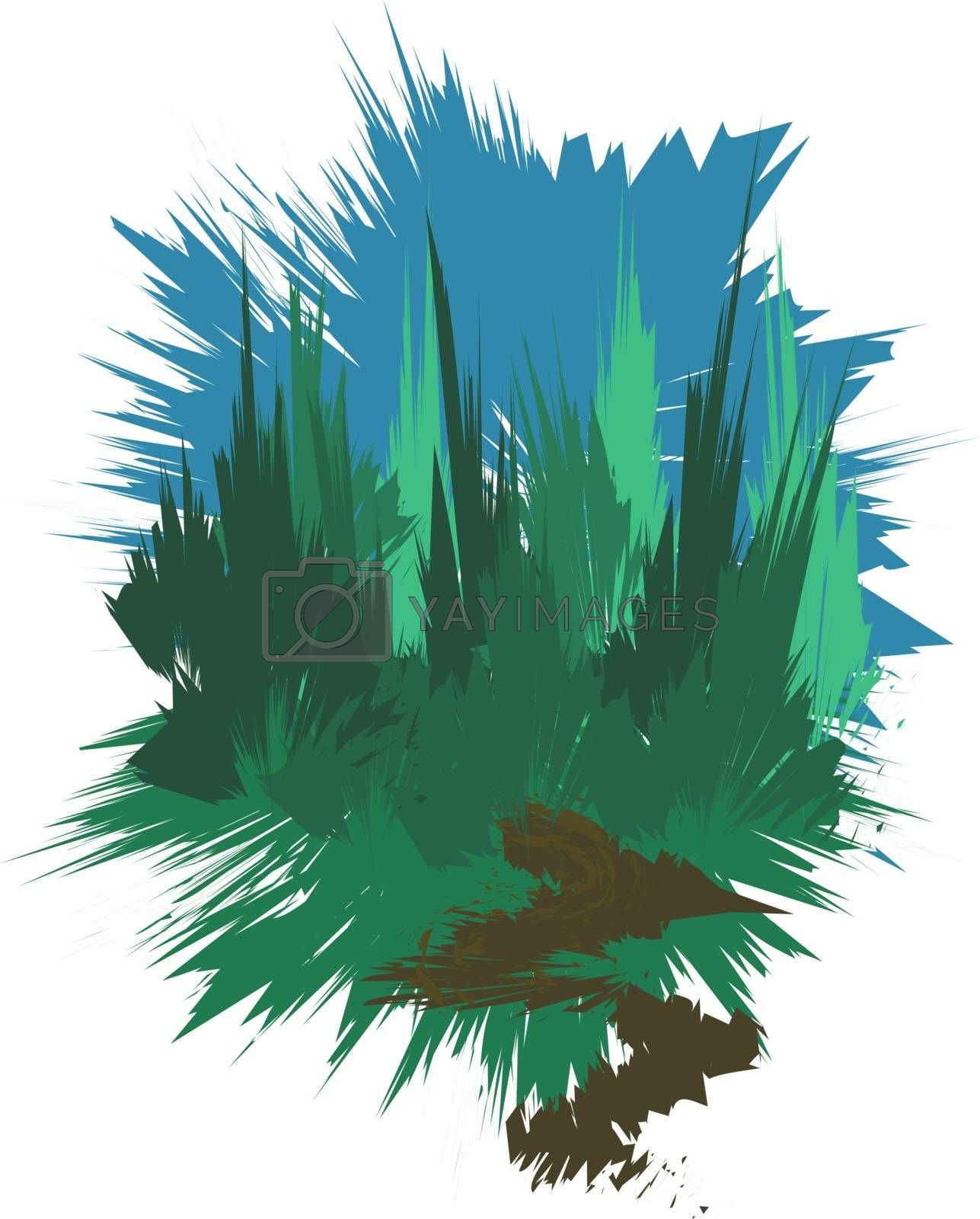 Image of pine and spruce forest, stylized as a paint stain