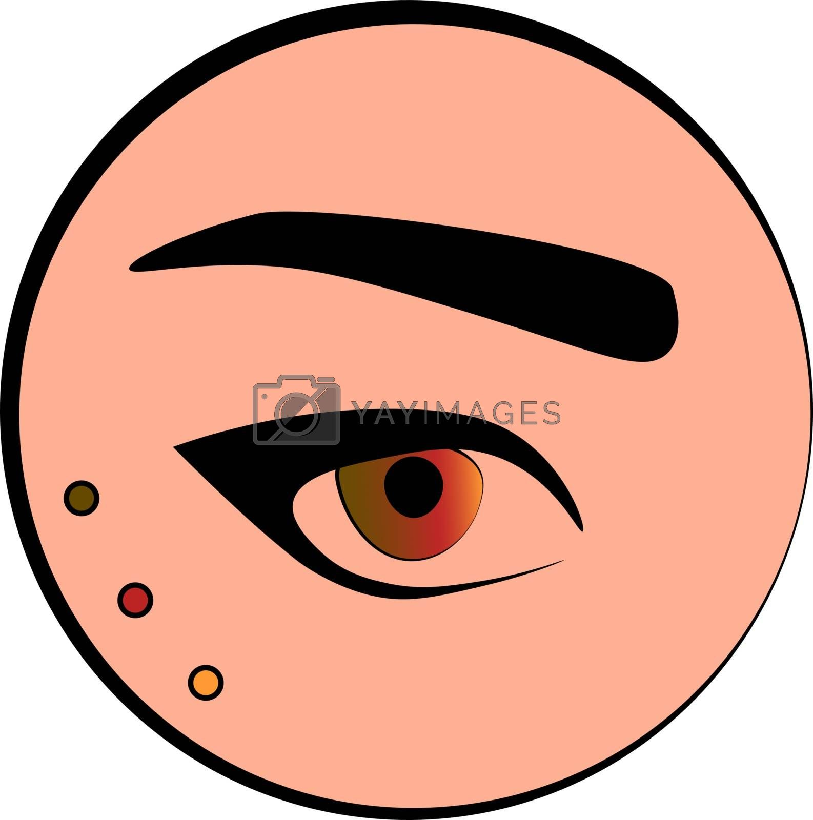 Fashion and make up icon: an eye and an eyebrow in the peach circle