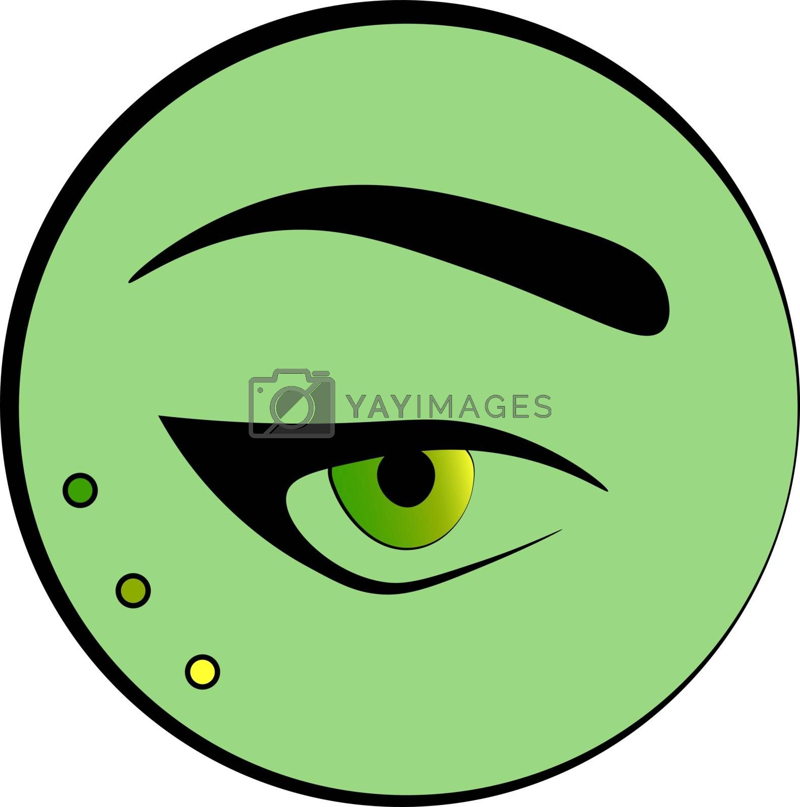 Fashion and make up icon: an eye and an eyebrow in the green circle
