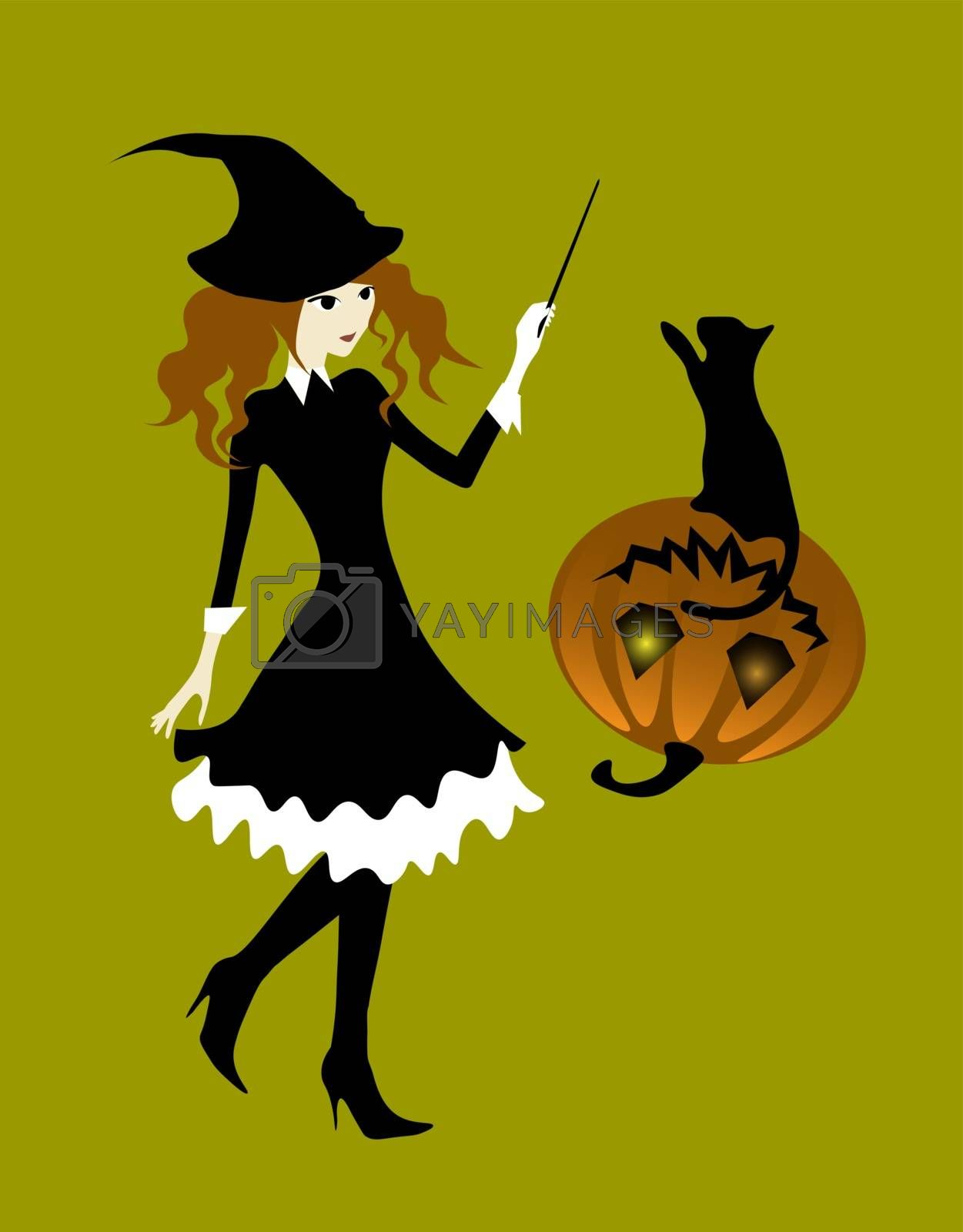 Halloween illustration. Witch girl picks up the pumpkin and the cat by the magic.