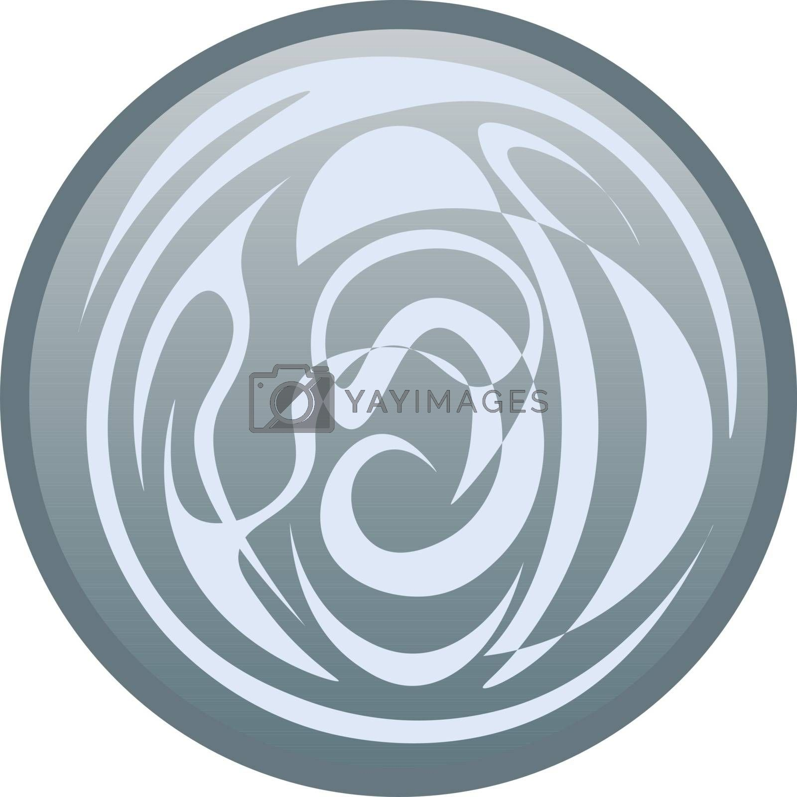 Circle with the grey pattern. fantasy symbol of the air and wind, icon, button or logo