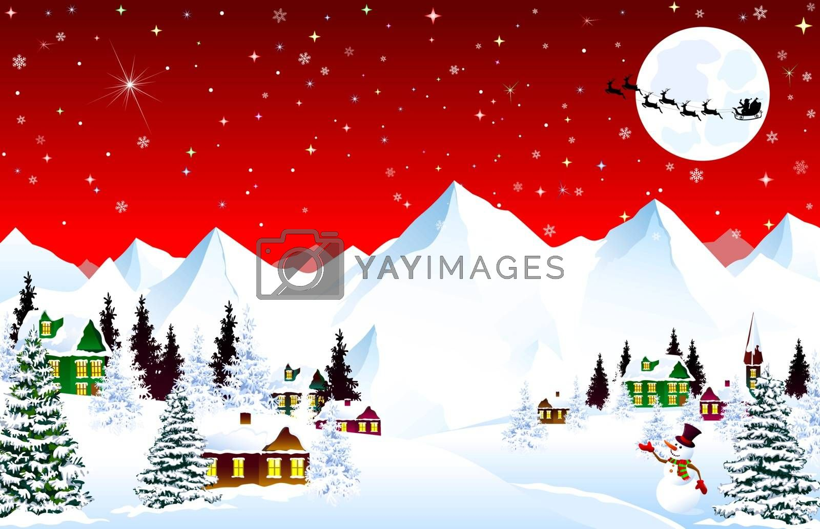 Winter rural landscape. Christmas Eve Night. Mountain village. Snow, forest, mountains. Shining stars and snowflakes in the night sky. Santa on a sleigh against the background of the moon. Christmas winter night scene.