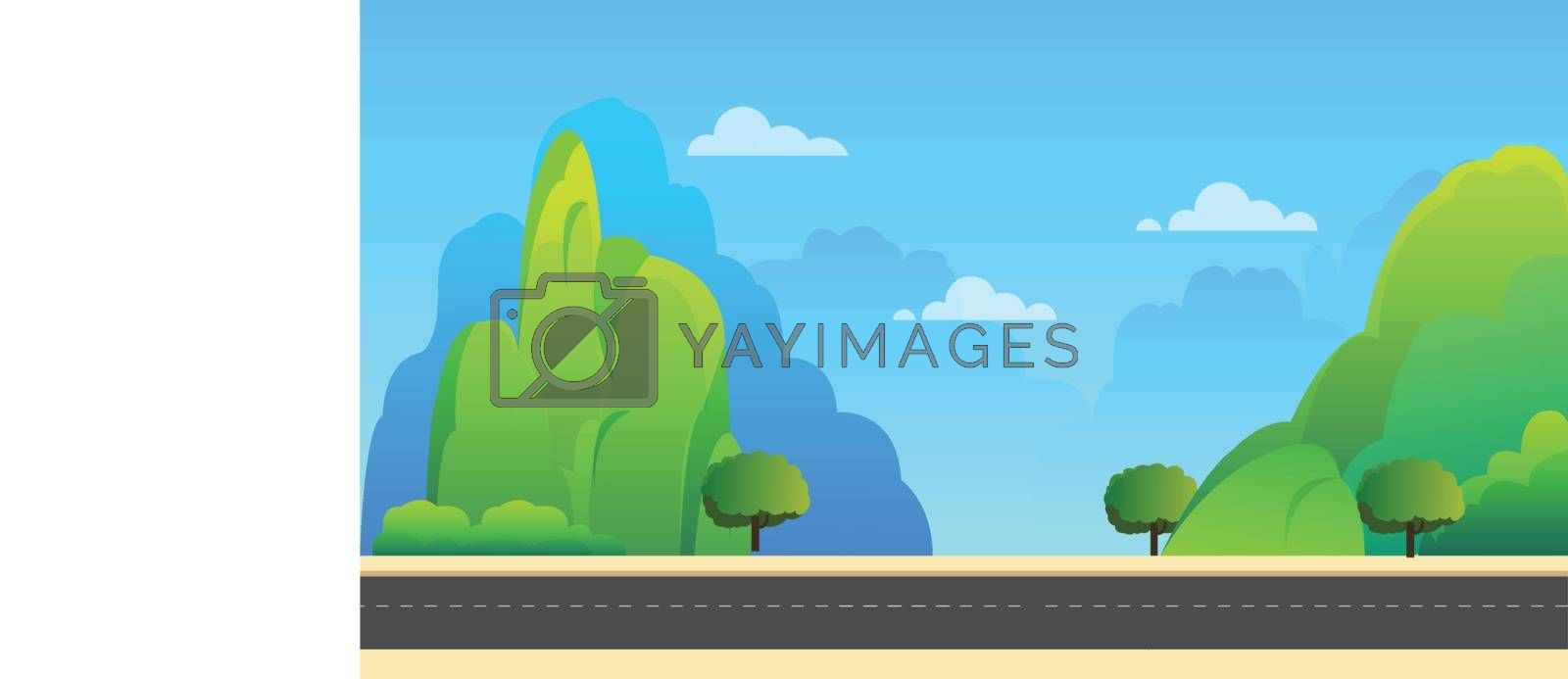 Nature landscape with mountains and sky background vector illustration.Spring landscape background.Beautiful landscape with street.