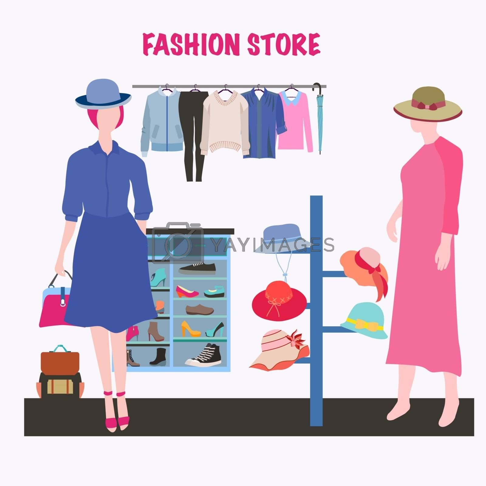 Vector hand-drawn Boutique indoor Fashion store. Modern clothing store interior with Fashion clothes and accsesories. Hat and shoes for women, summer collection.