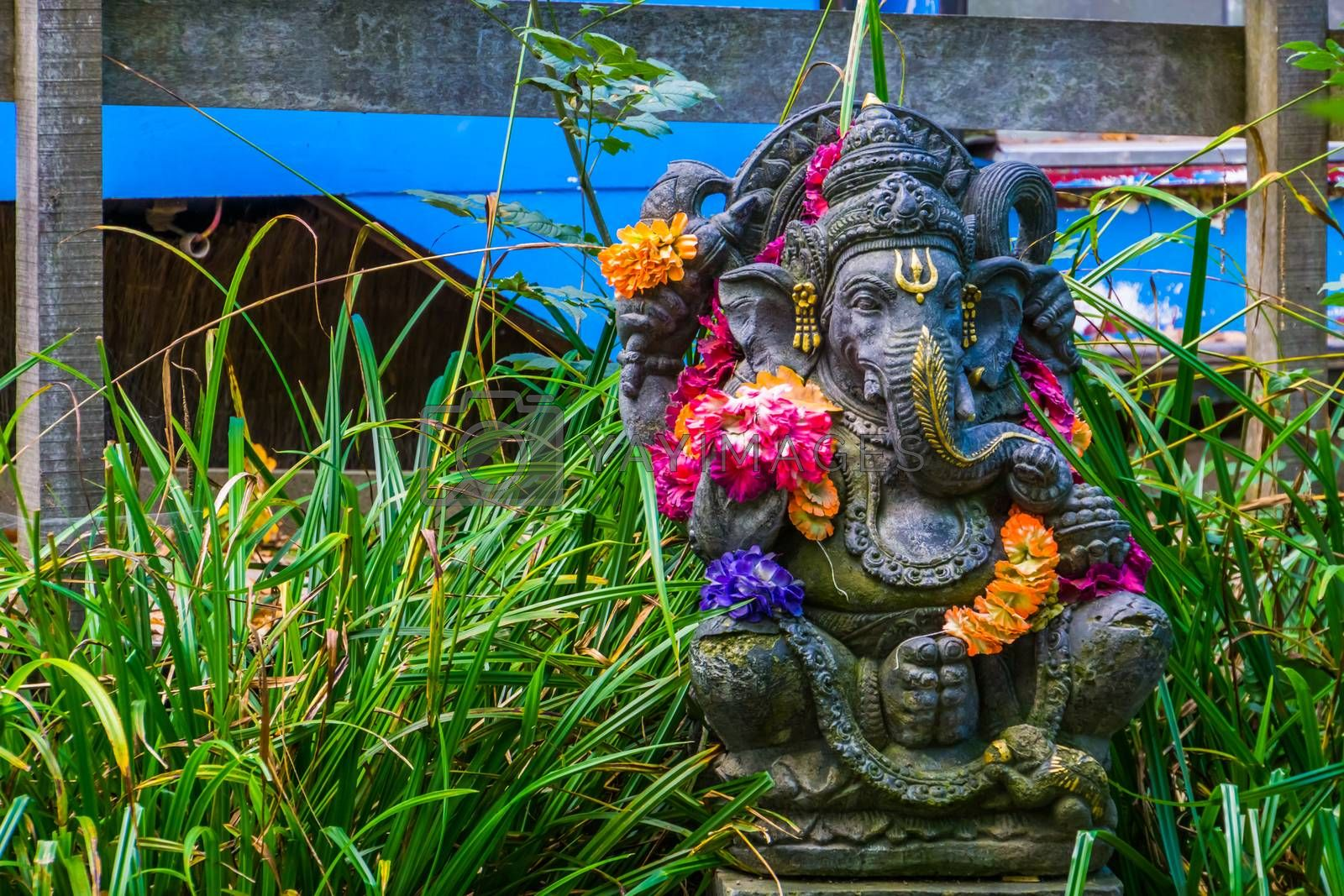 beautiful Ganesha sculpture, Indian elephant god, spiritual garden decorations by charlottebleijenberg