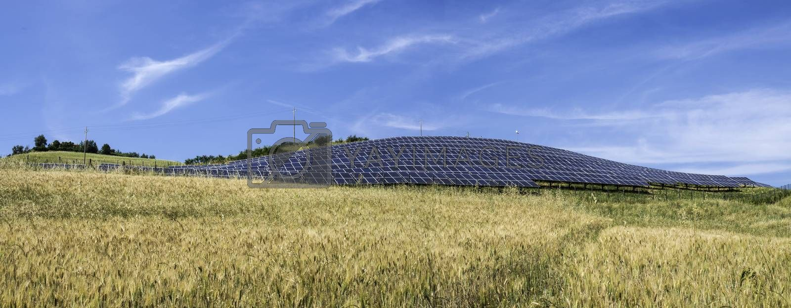 Solar panels in rural. Blue sky