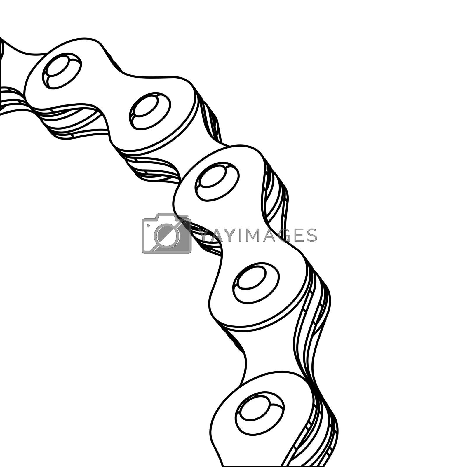 Bicycle chain close-up vector illustration. 3D design. Vector illustration on white backgound