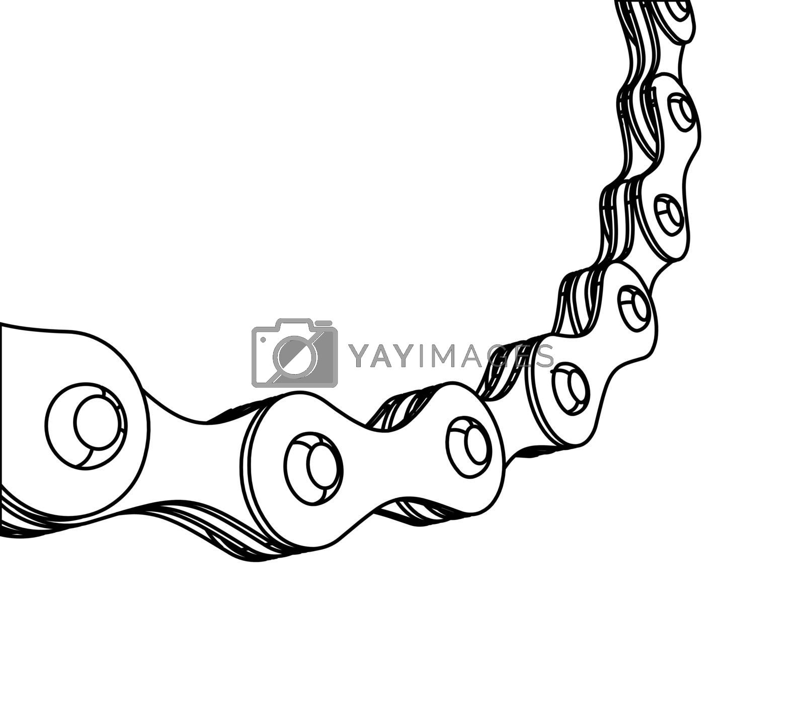 Bicycle chain close-up vector illustration. 3D design by sermax55