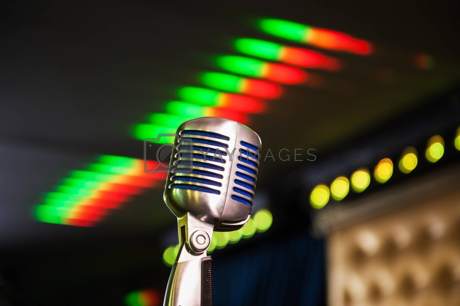 Close-up of retro microphone at concert