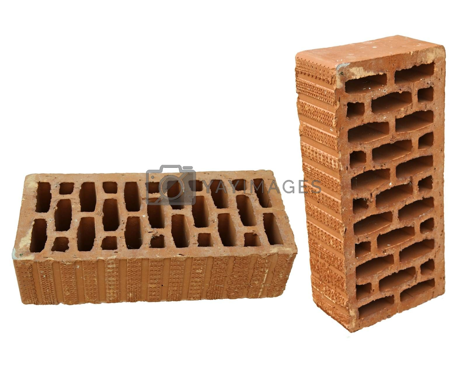 Brick in two views isolated on white.One horizontal and one vertical.