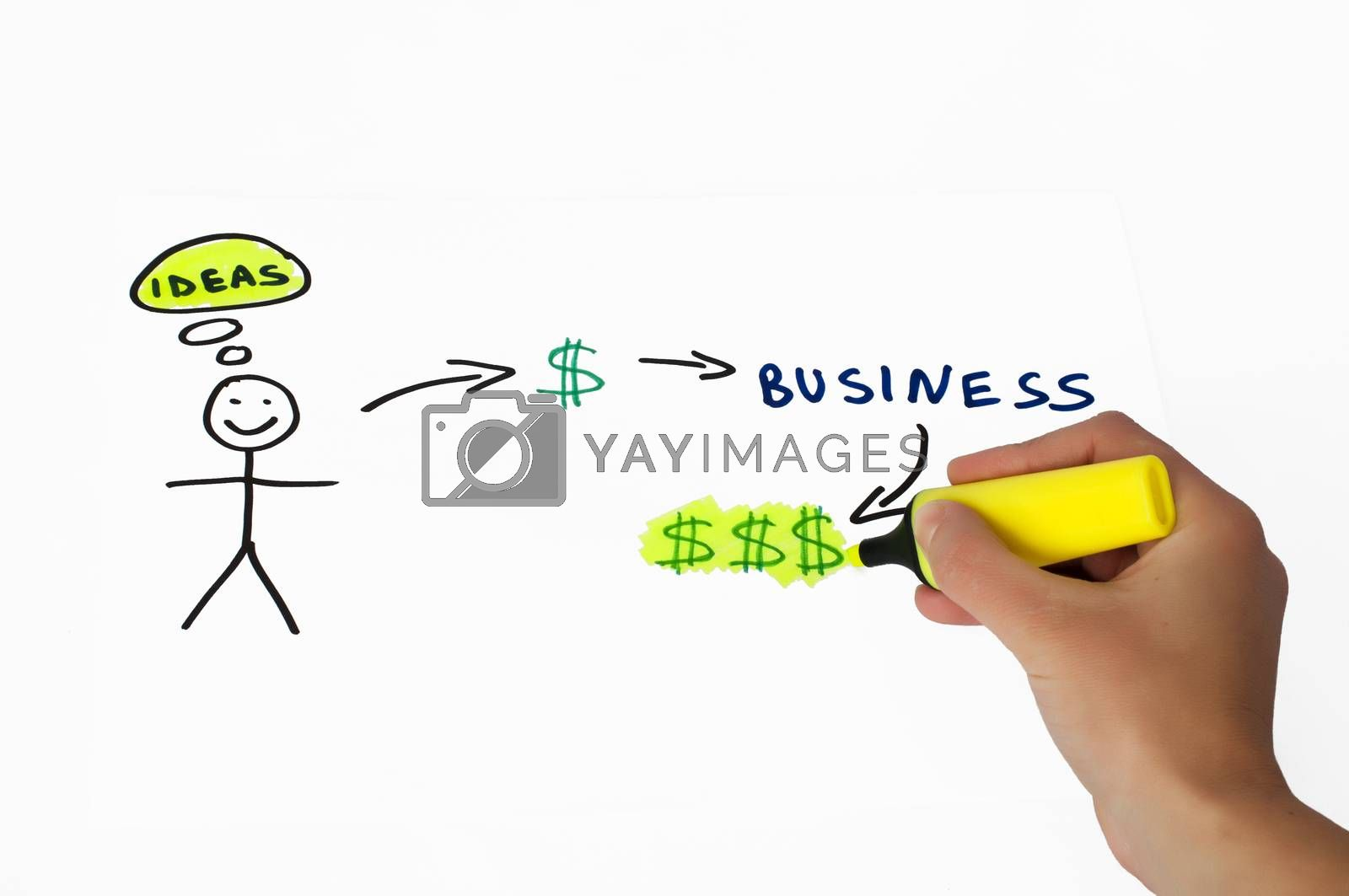 Business and investment conception illustration over white. Hand that writes