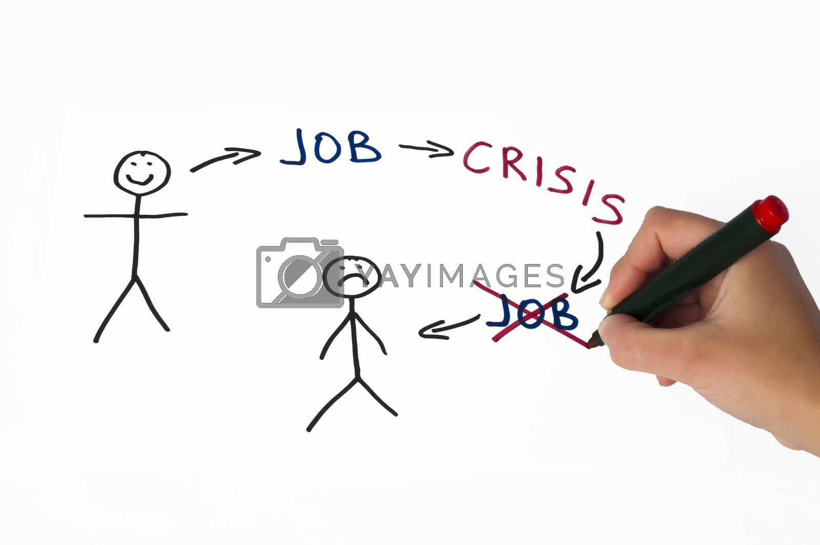Job and crisis conception illustration over white. Hand that writes