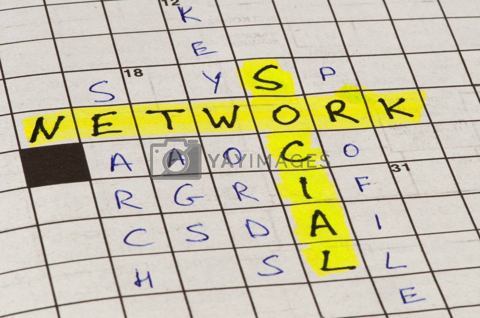 Social network conception text in crossword puzzle