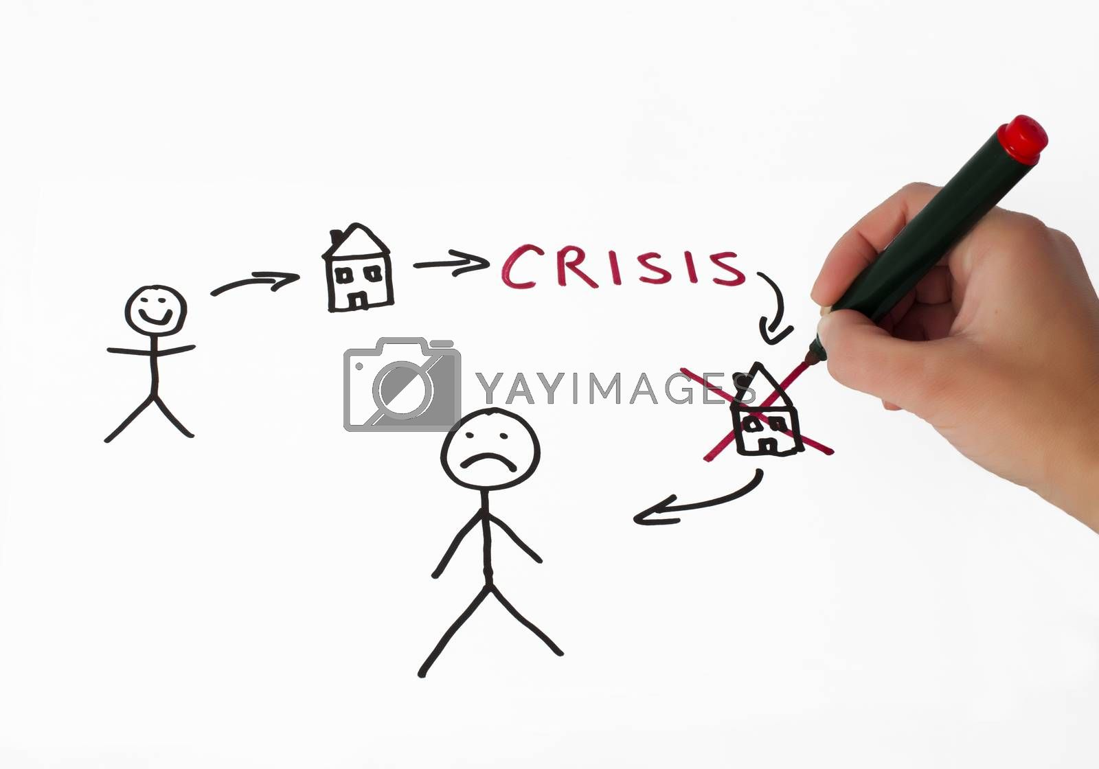 Real estate and crisis conception illustration over white. Hand that writes