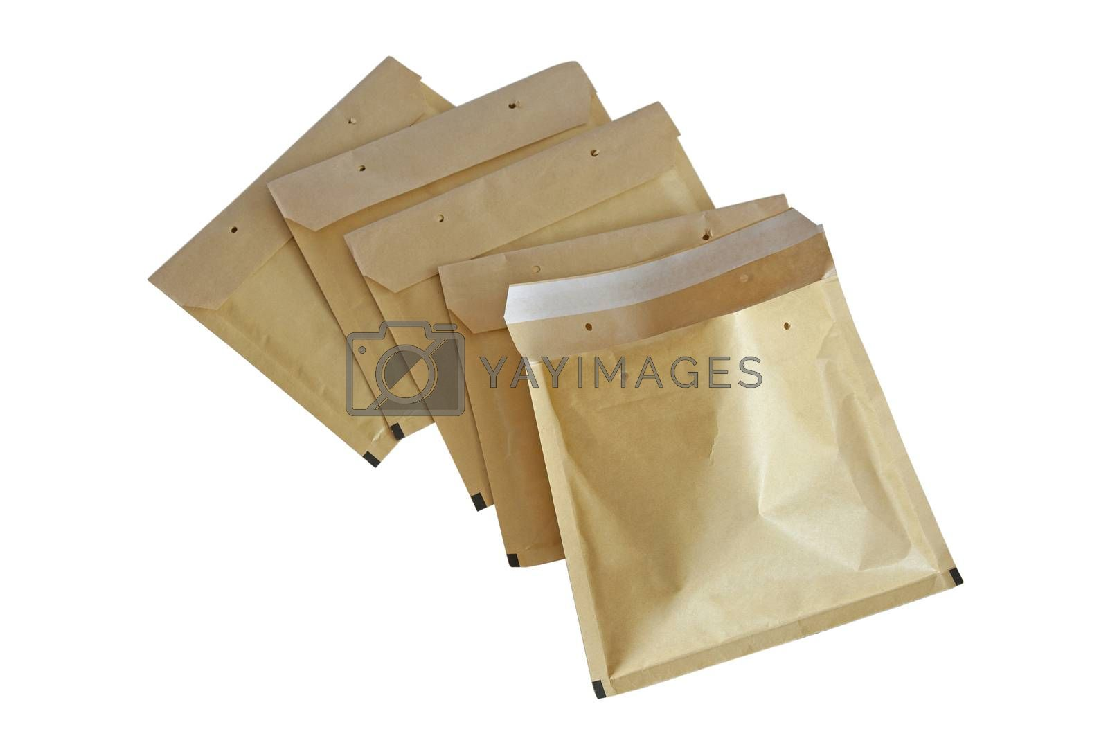 Yellow packaging envelopes isolated on white