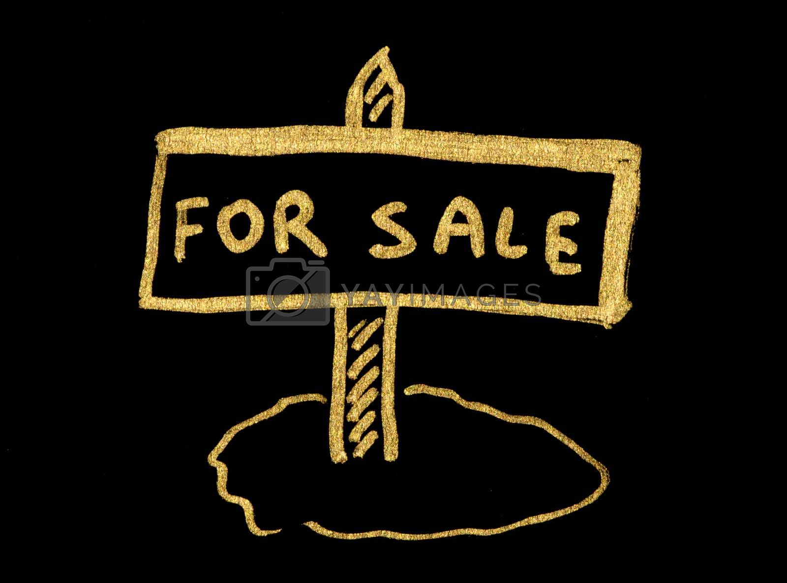 For sale gold color text over black
