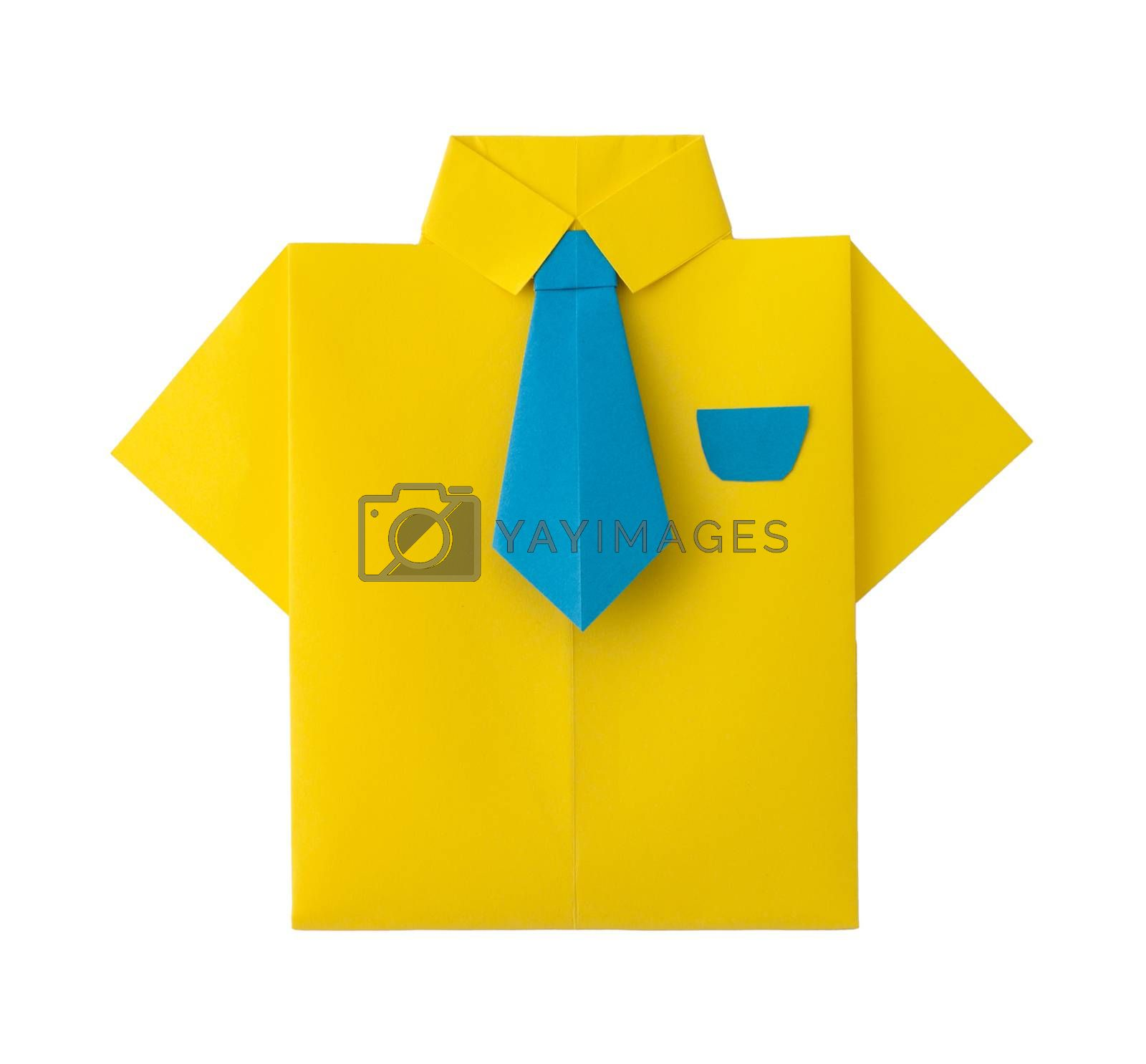 Origami yellow shirt with tie by deyan_georgiev