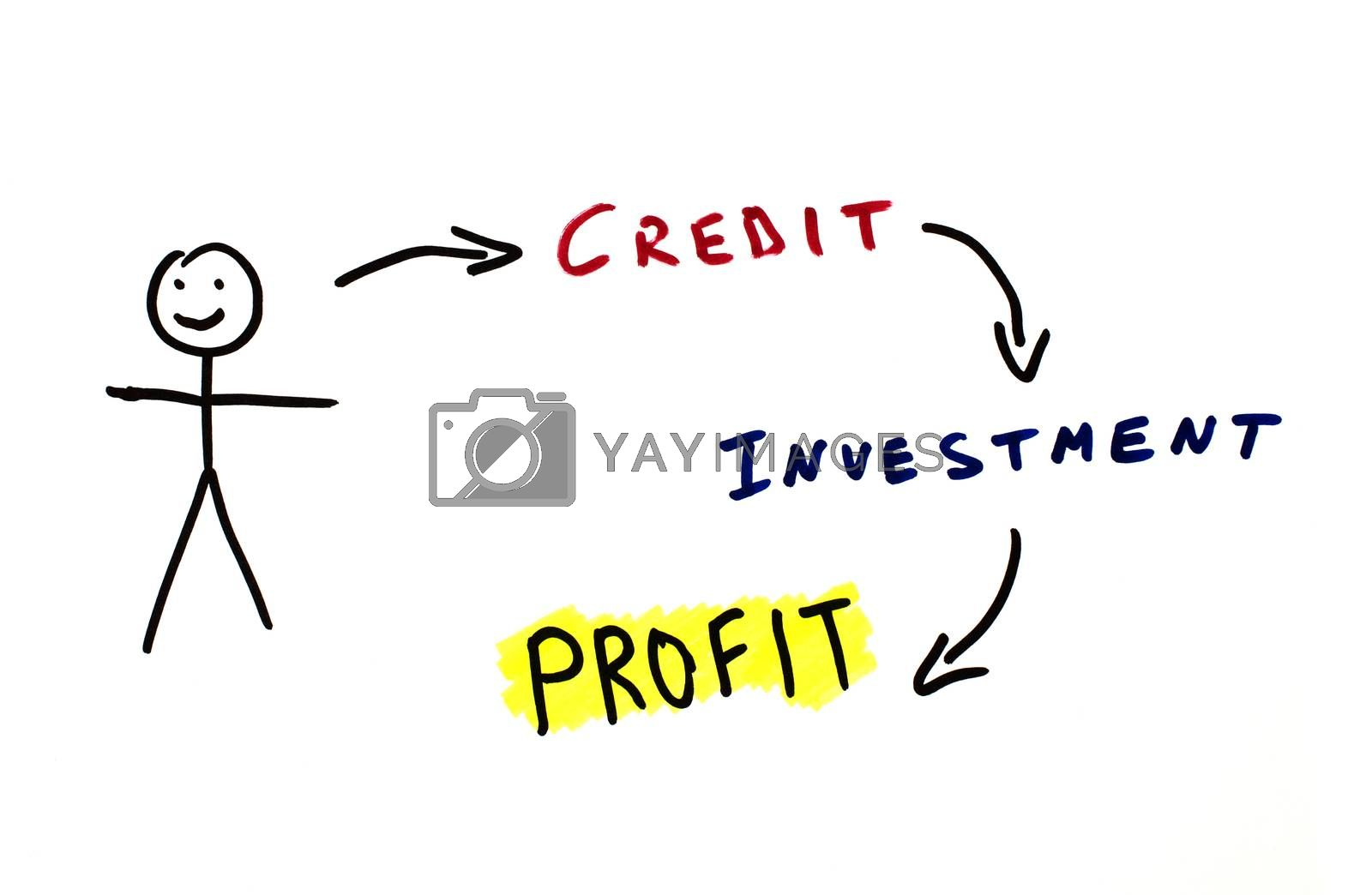 Credit and investments conception illustration over white.