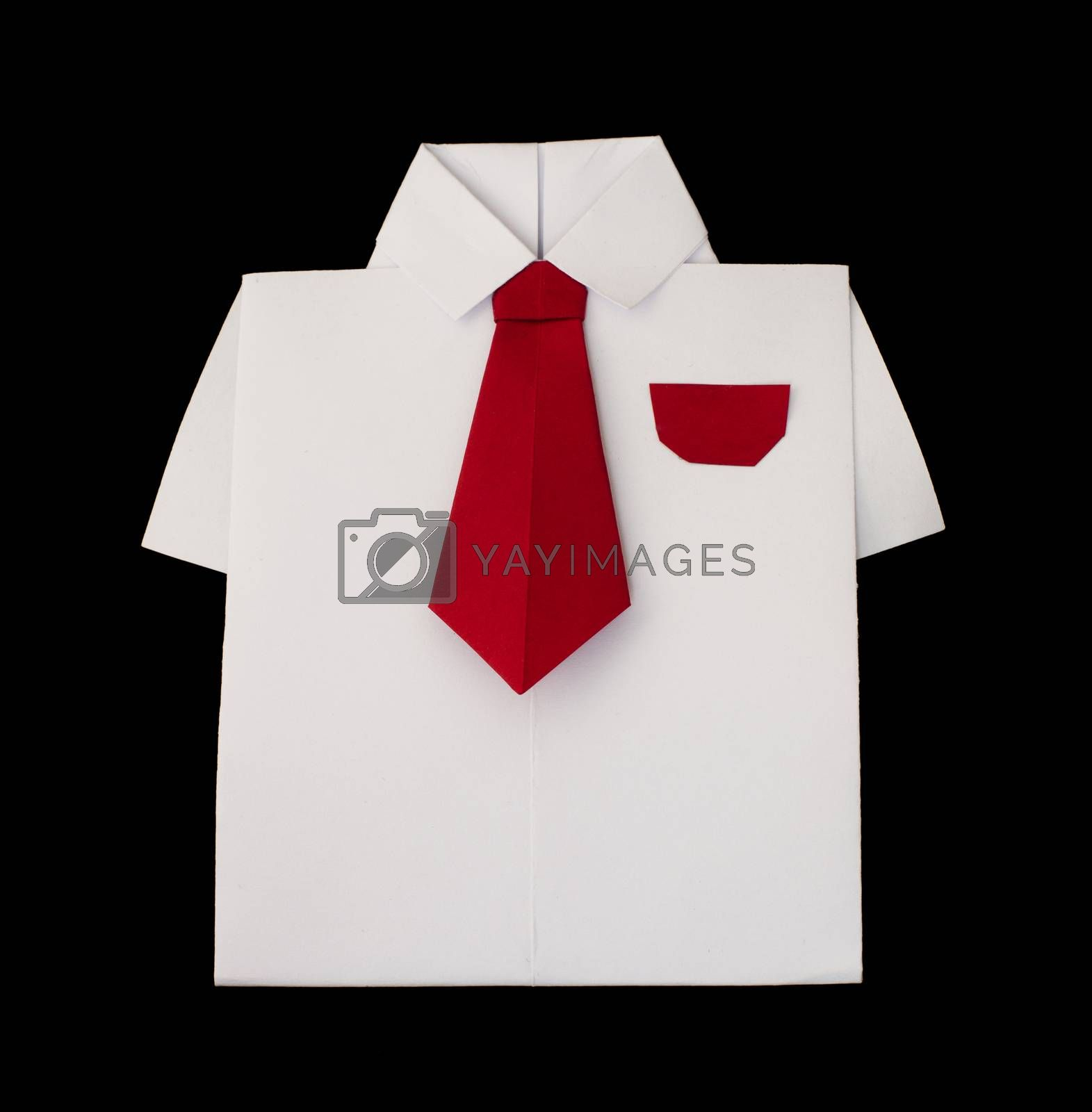 Origami white shirt with tie. Black isolated
