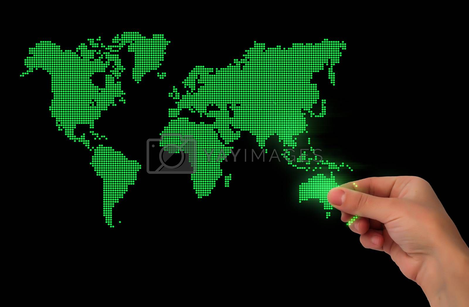 Dot World map business background. Hand holding World map