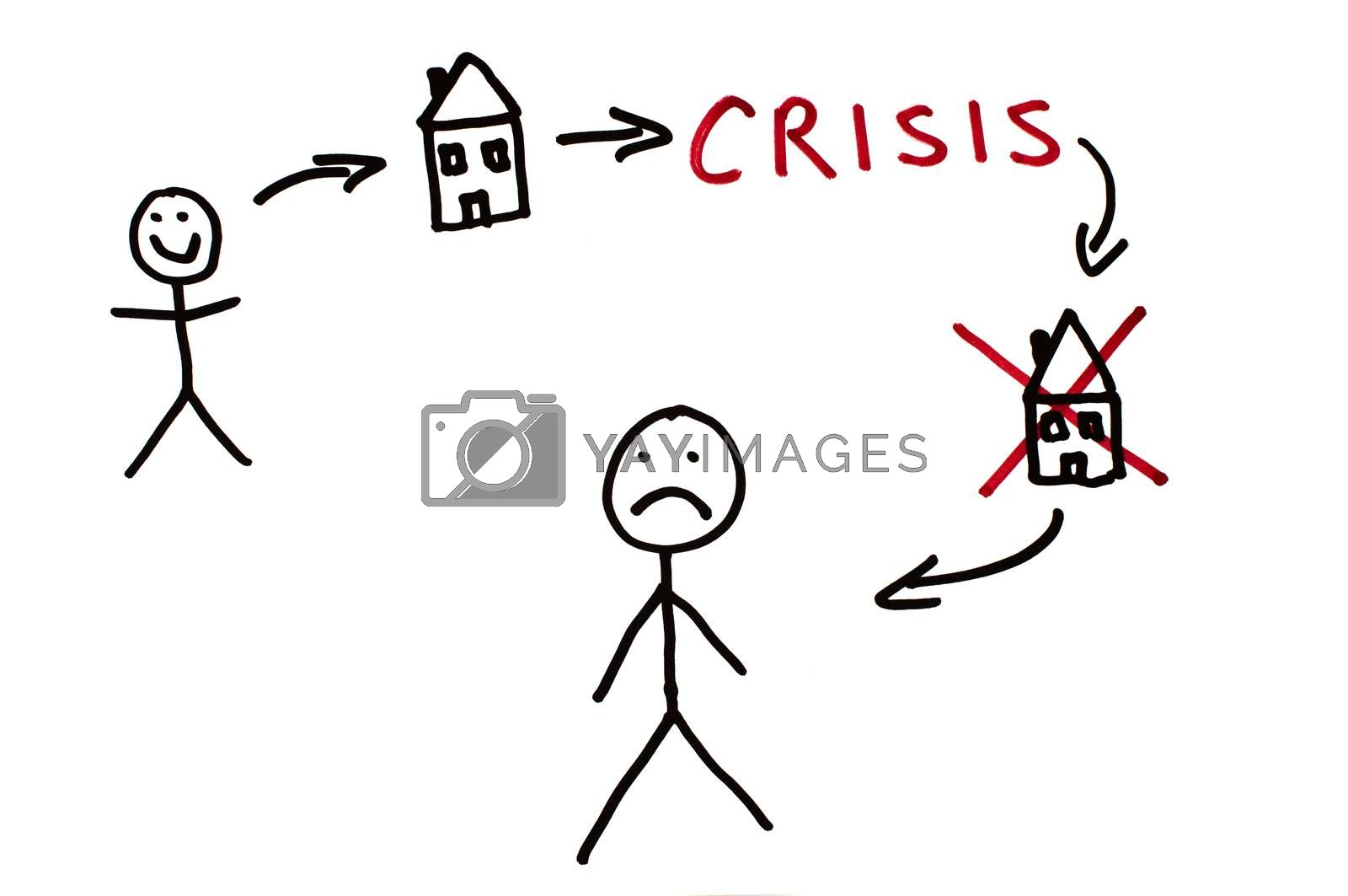 Real estate and crisis conception illustration by deyan_georgiev