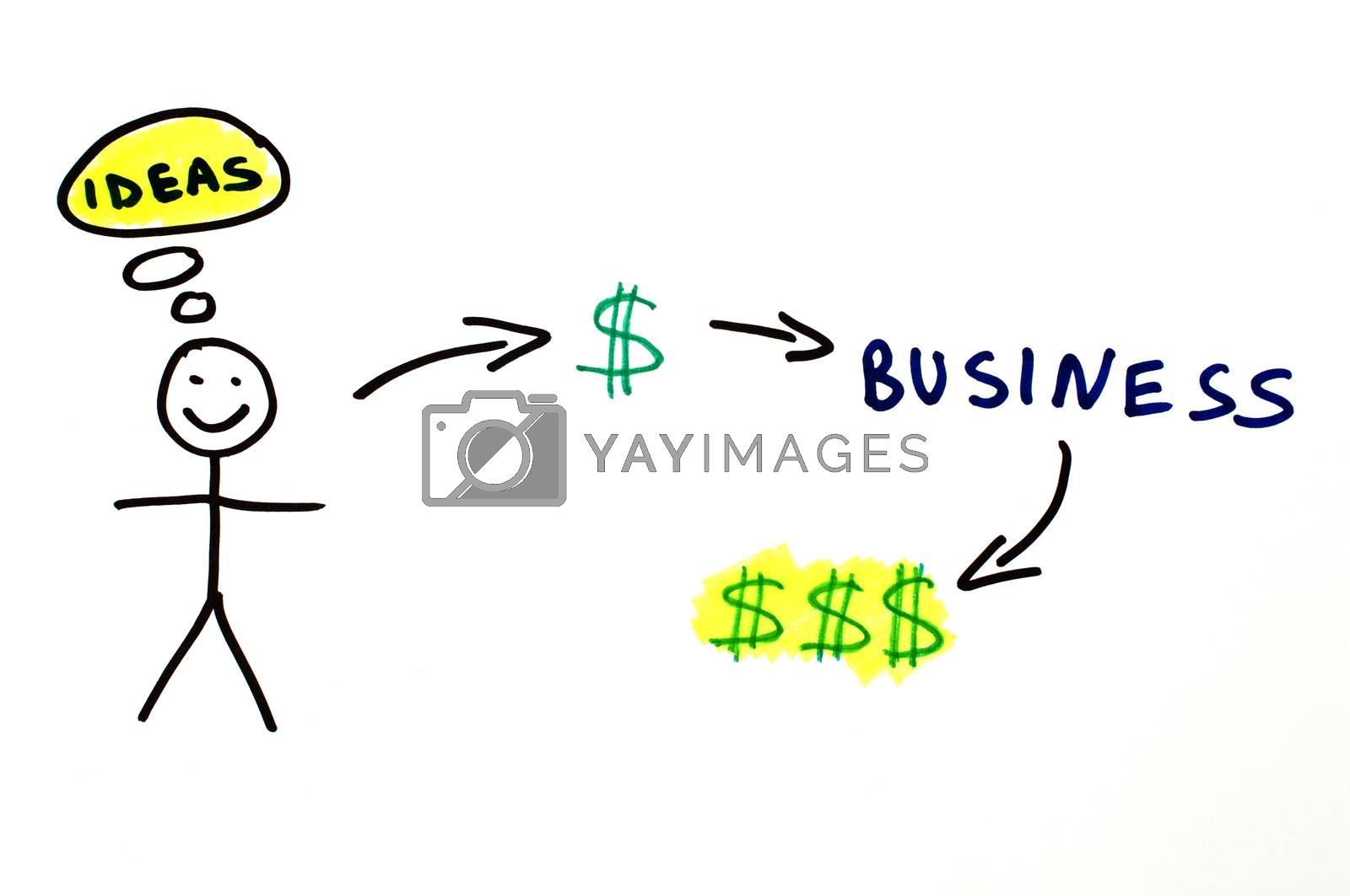 Business and investment conception illustration over white.
