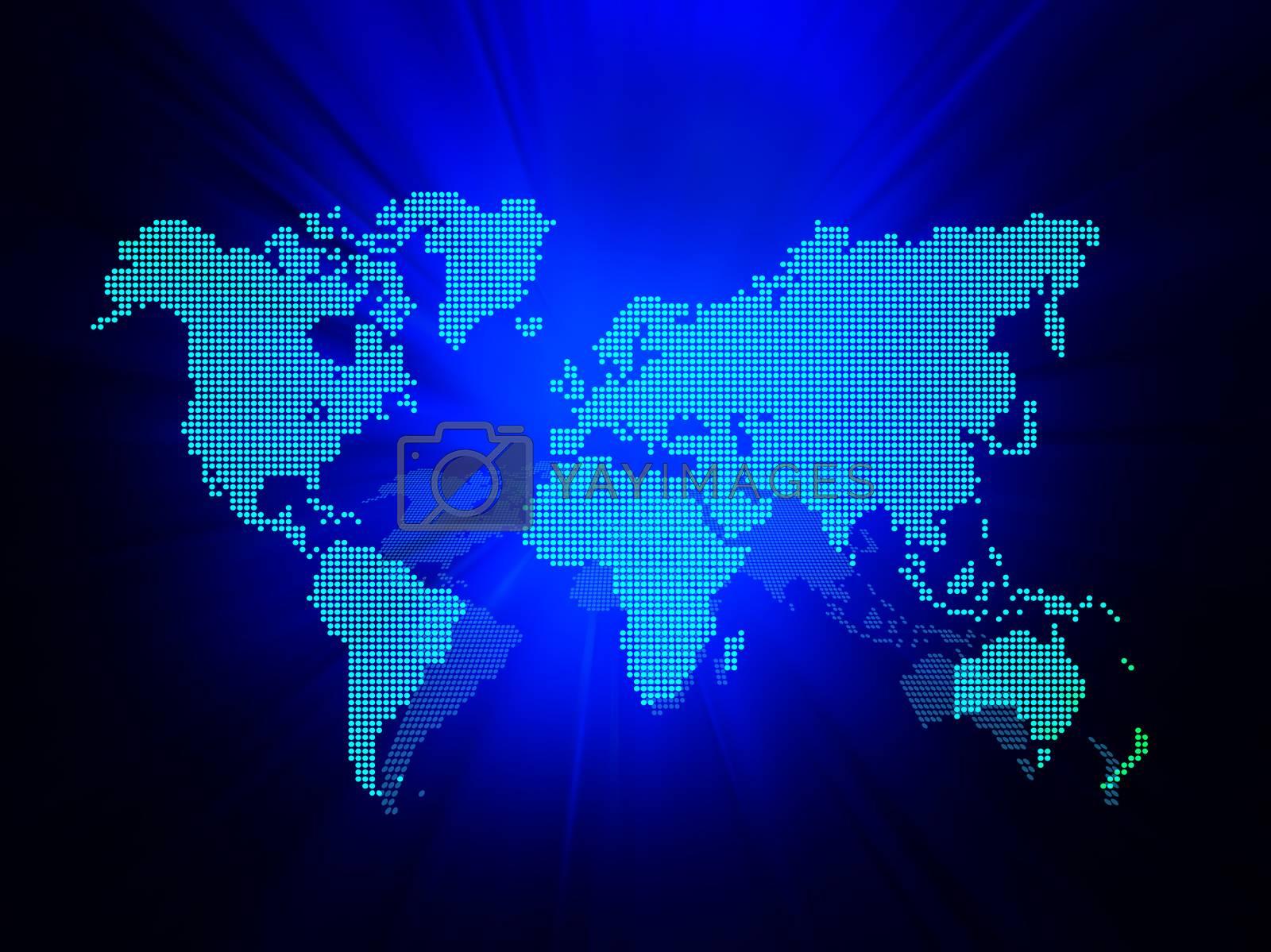 Dot World map business background. Blue colors lights on background