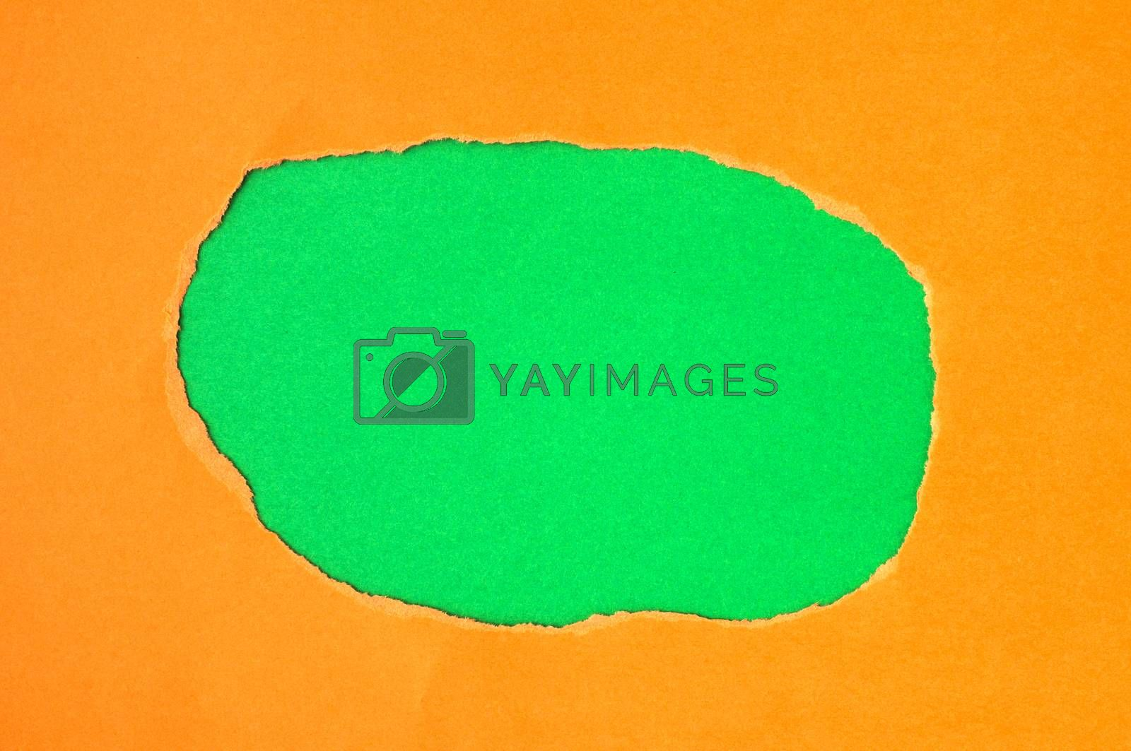 Red torn paper with green space for text or other content