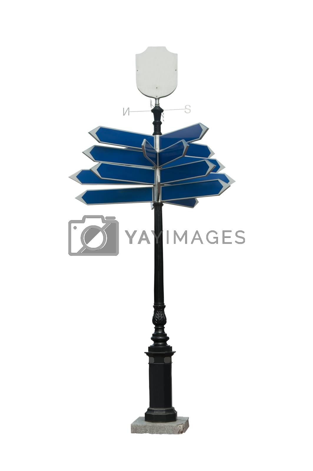 Big sign with directions. Isolated on white background