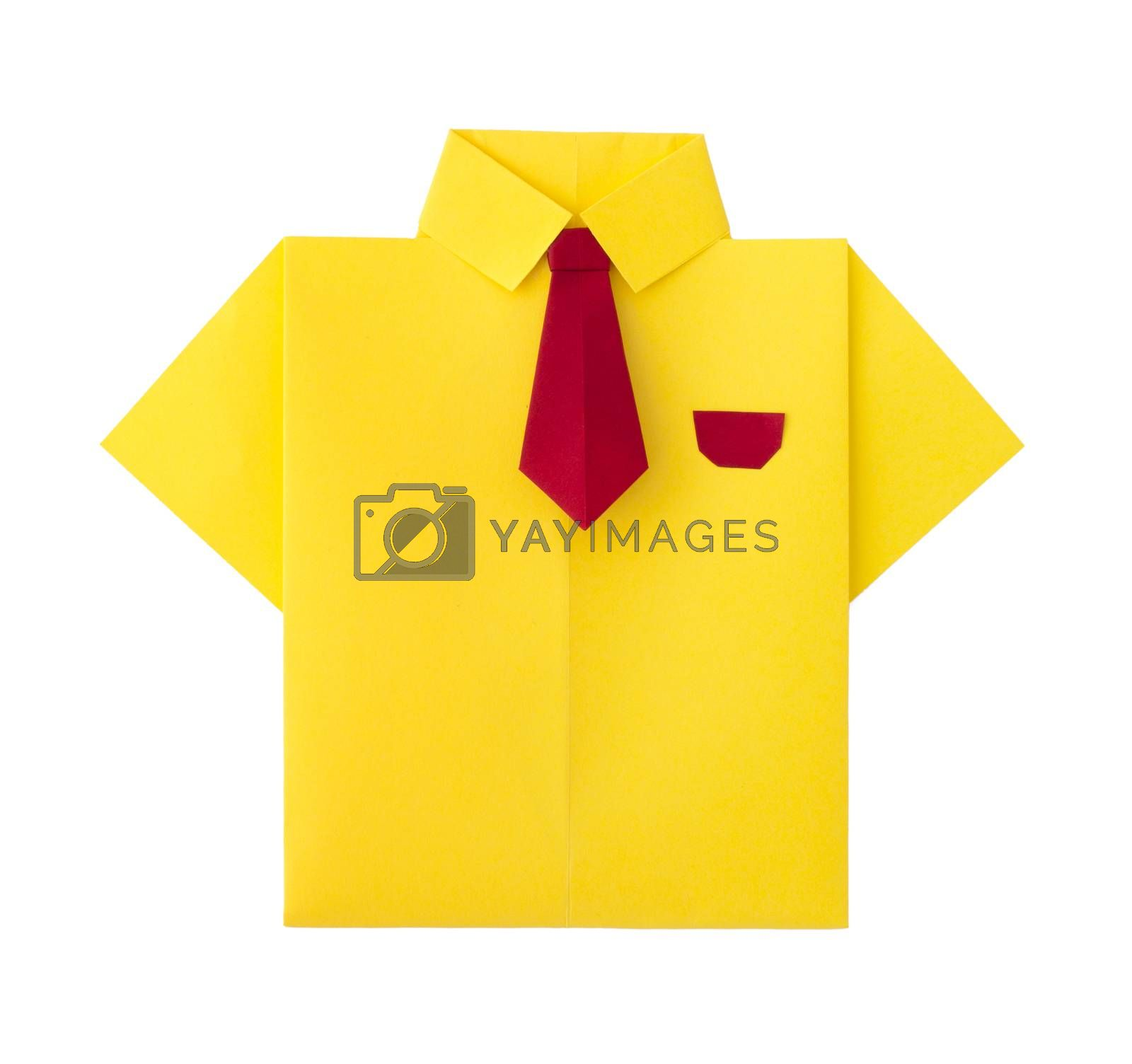 Origami yellow shirt with tie. White isolated